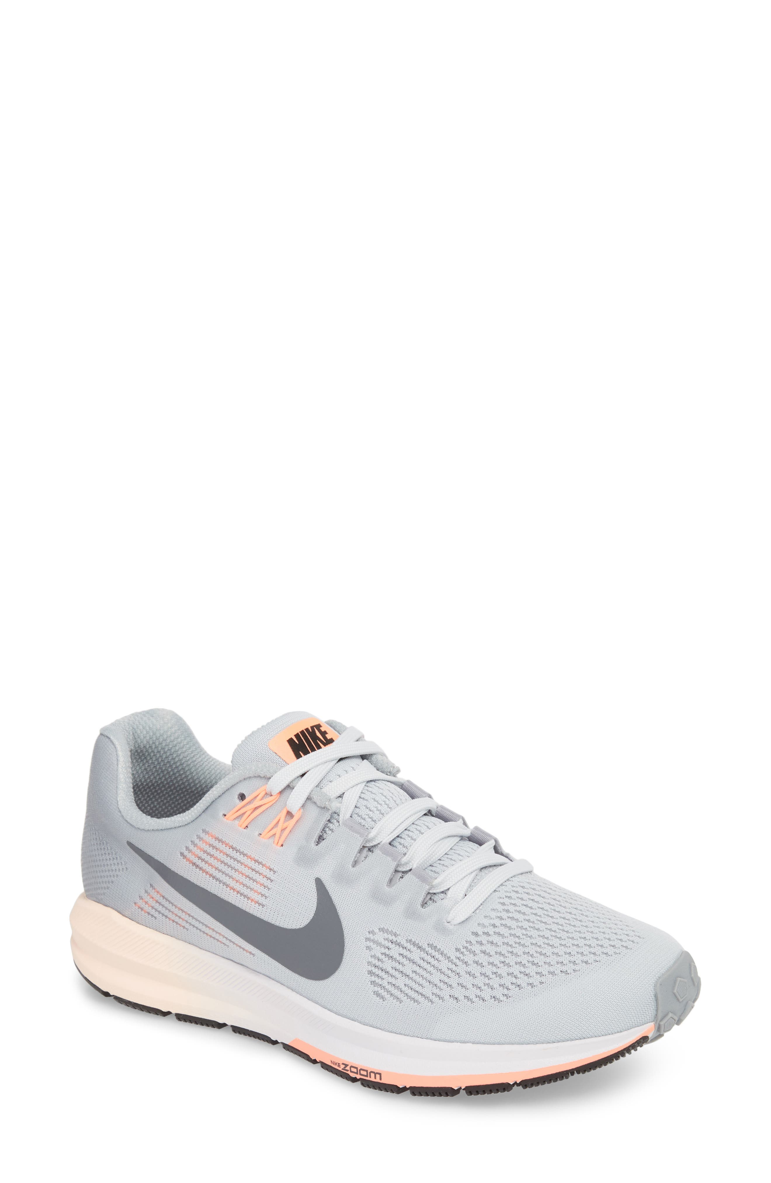 Air Zoom Structure 21 Running Shoe,                         Main,                         color, Wolf Grey/ Dark Grey