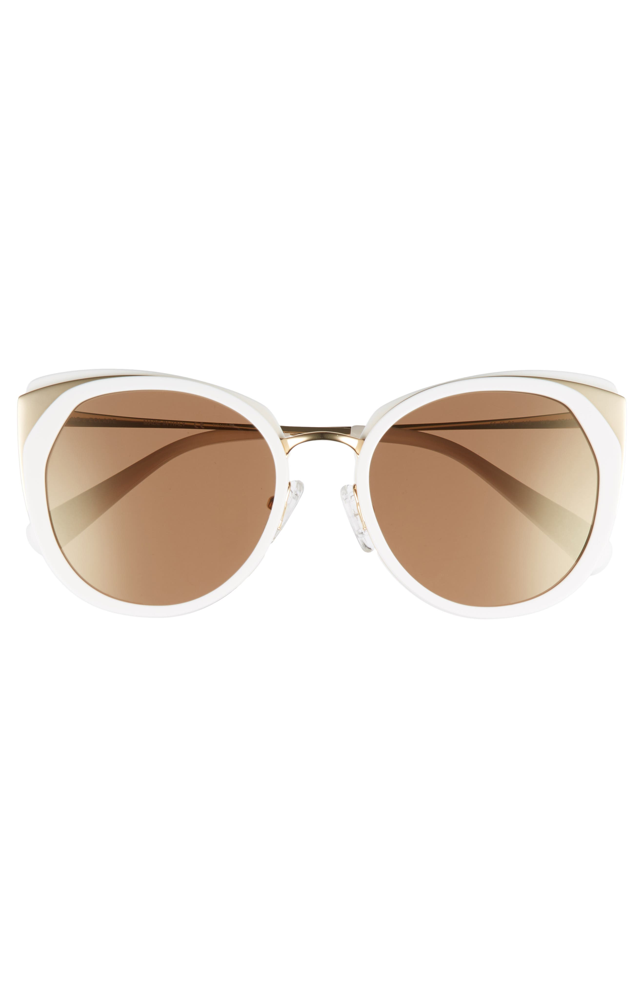 BLANC & ECLARE Istanbul 55mm Polarized Cat Eye Sunglasses,                             Alternate thumbnail 3, color,                             Snow/ Gold/ Solid Gold Mirror
