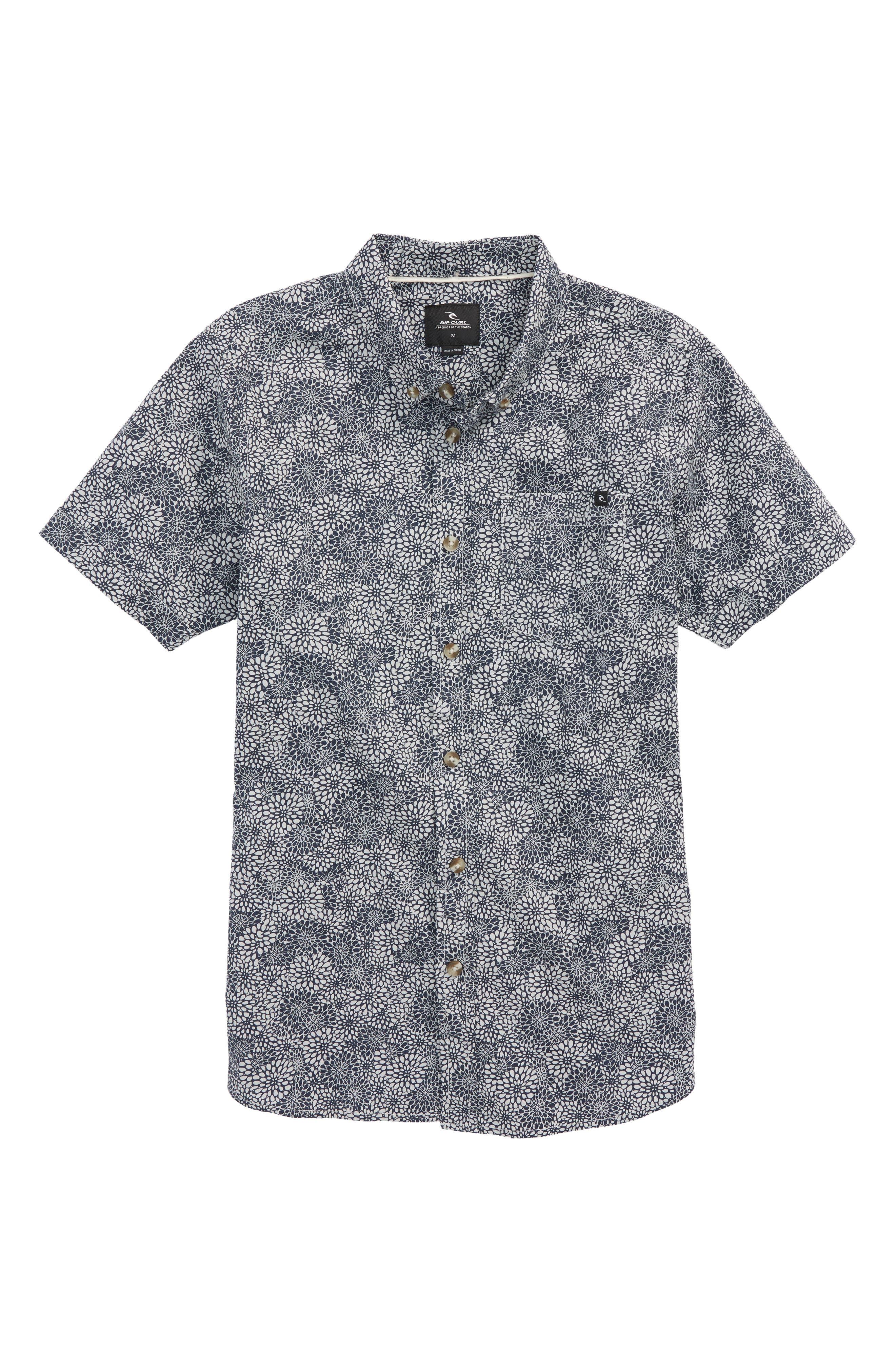 Preset Short Sleeve Woven Shirt,                             Main thumbnail 1, color,                             Navy