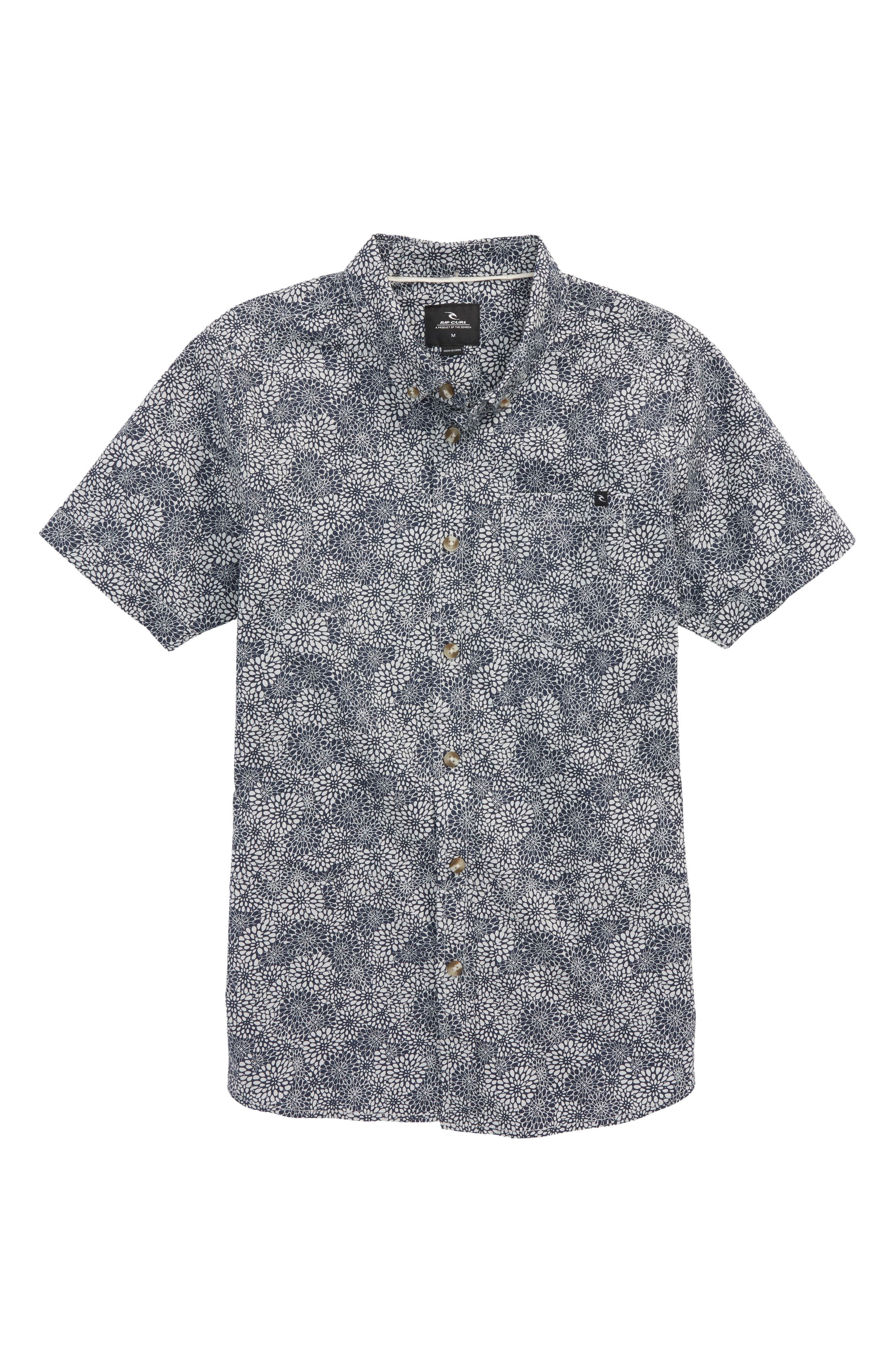 Preset Short Sleeve Woven Shirt,                         Main,                         color, Navy