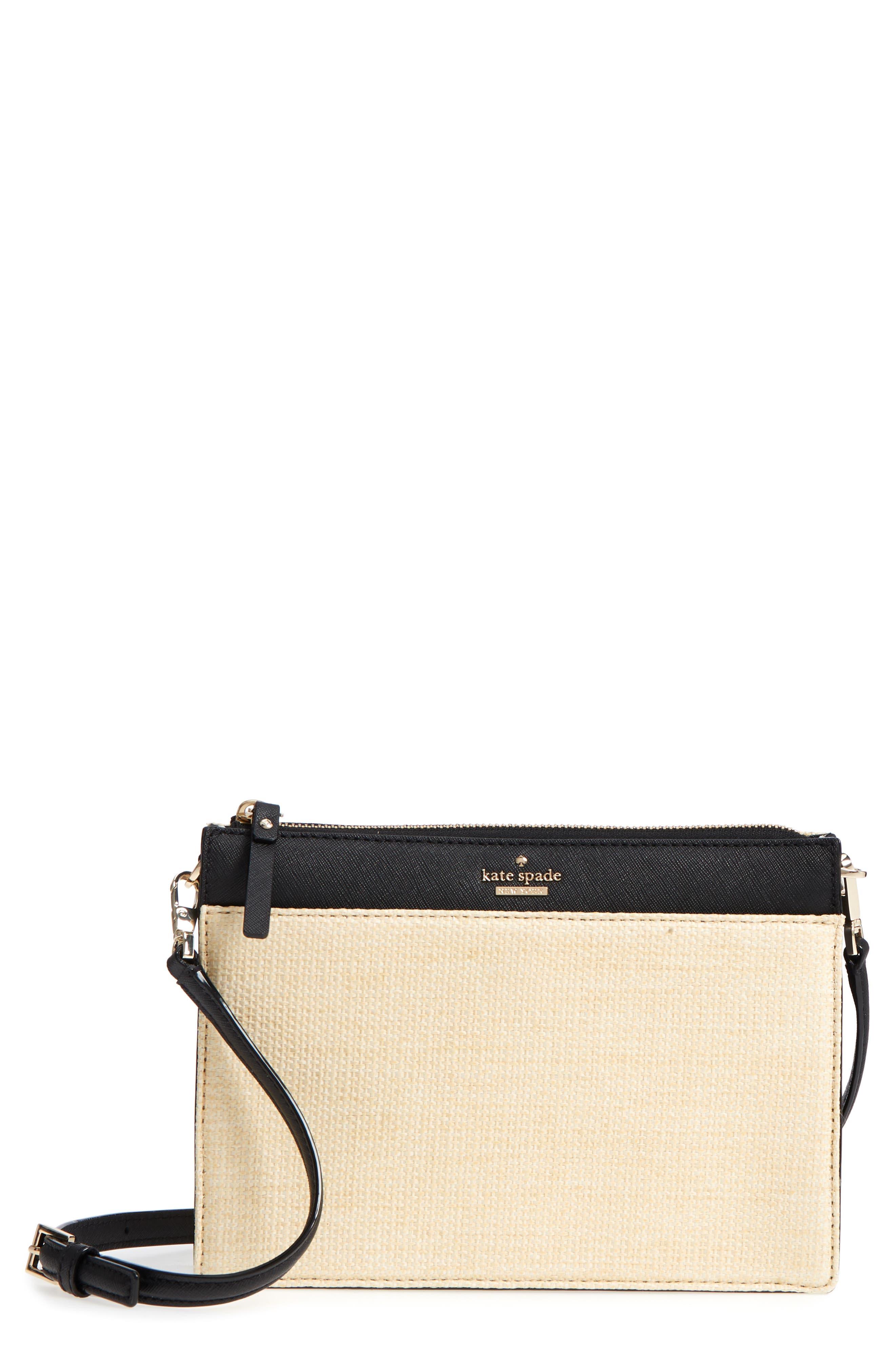 kate spade new york cameron street - clarise straw & leather shoulder bag