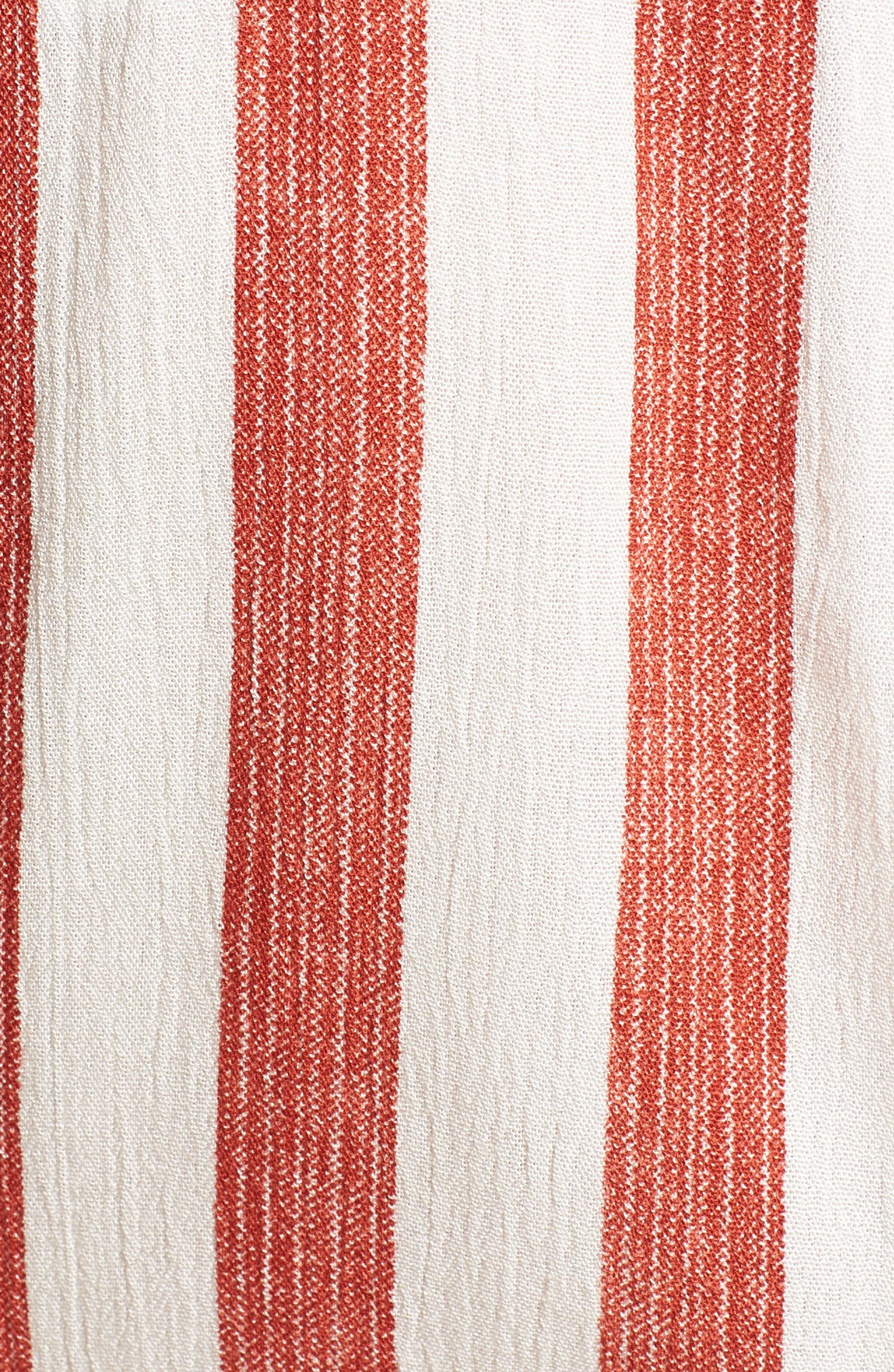 Stripe Tie Front Top,                             Alternate thumbnail 7, color,                             Red/ Ivory