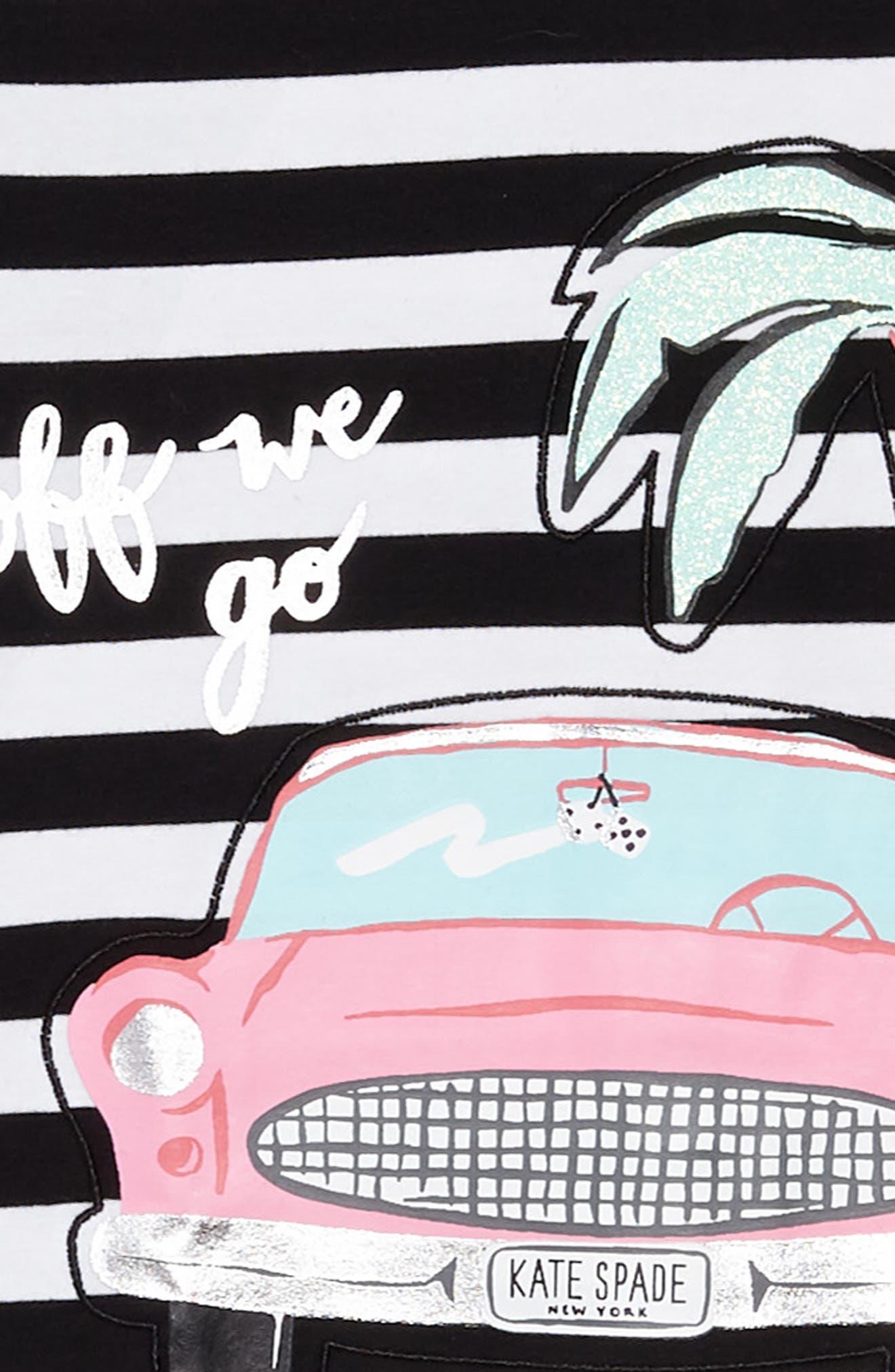 road trip stripe dress,                             Alternate thumbnail 3, color,                             Black / Fresh White