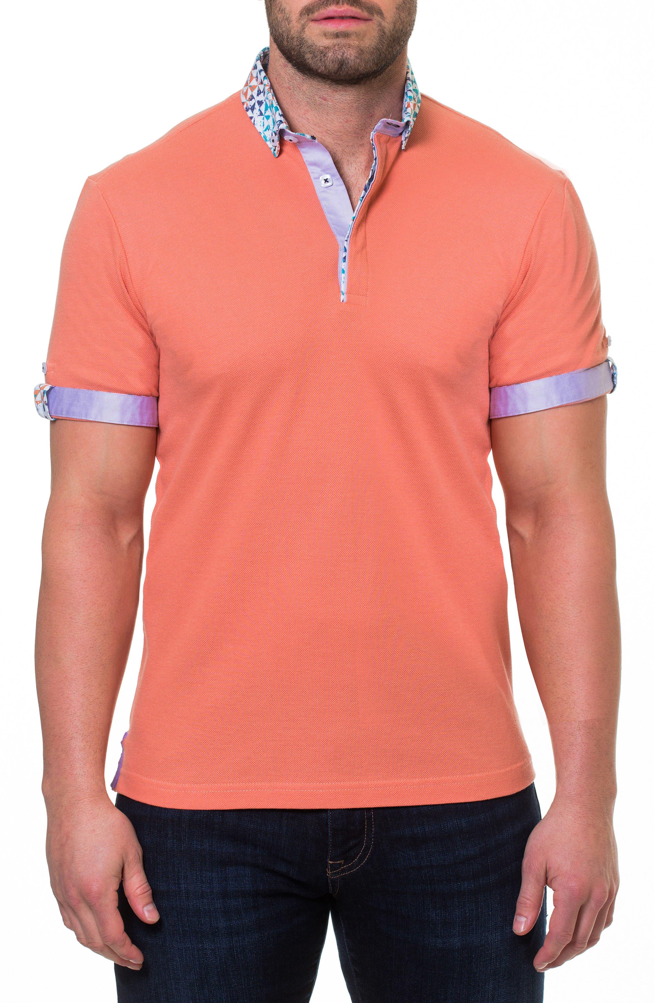 Woven Trim Polo,                         Main,                         color, Orange