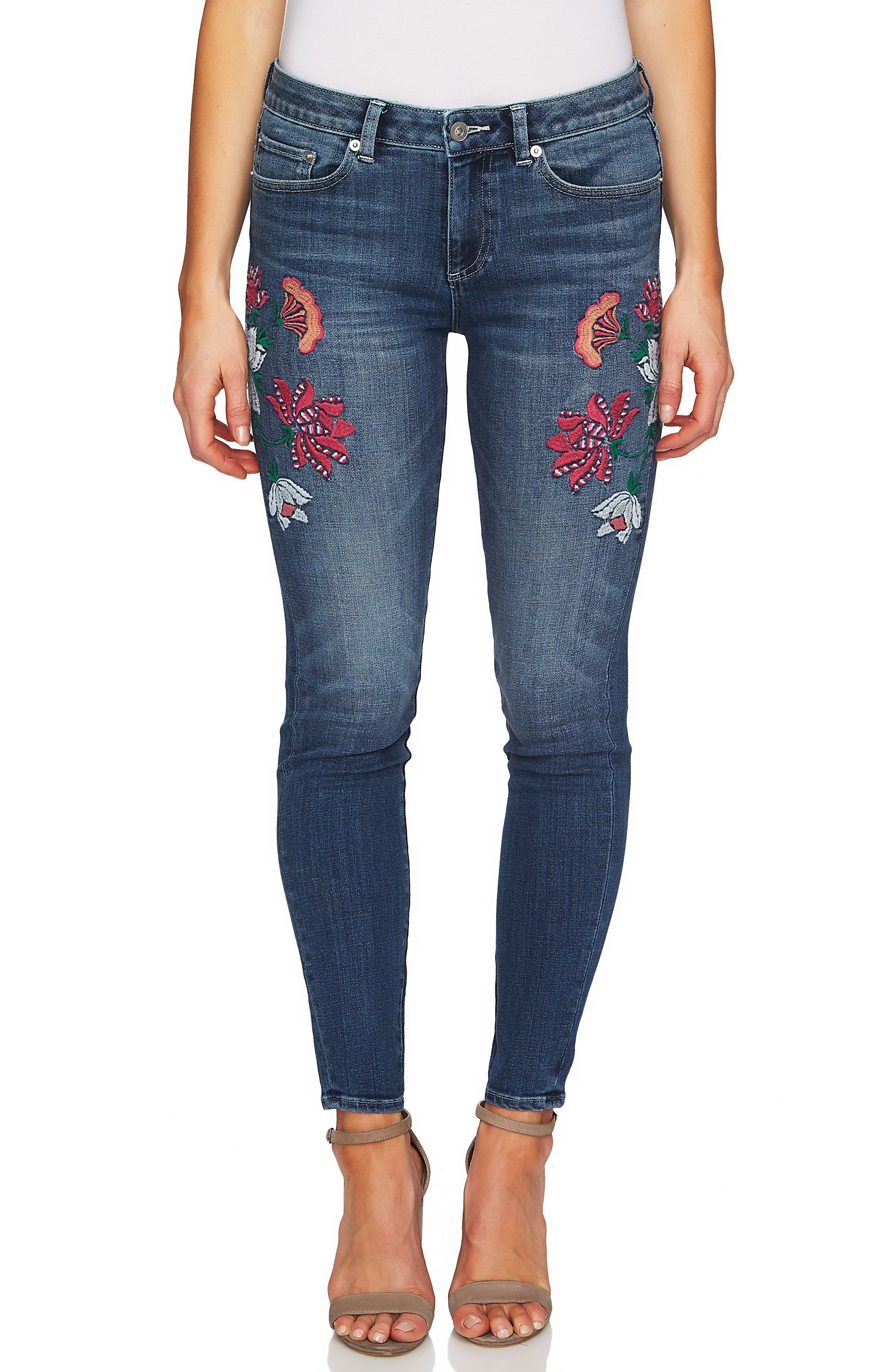 Floral Embroidery Skinny Jeans,                             Main thumbnail 1, color,                             True Blue