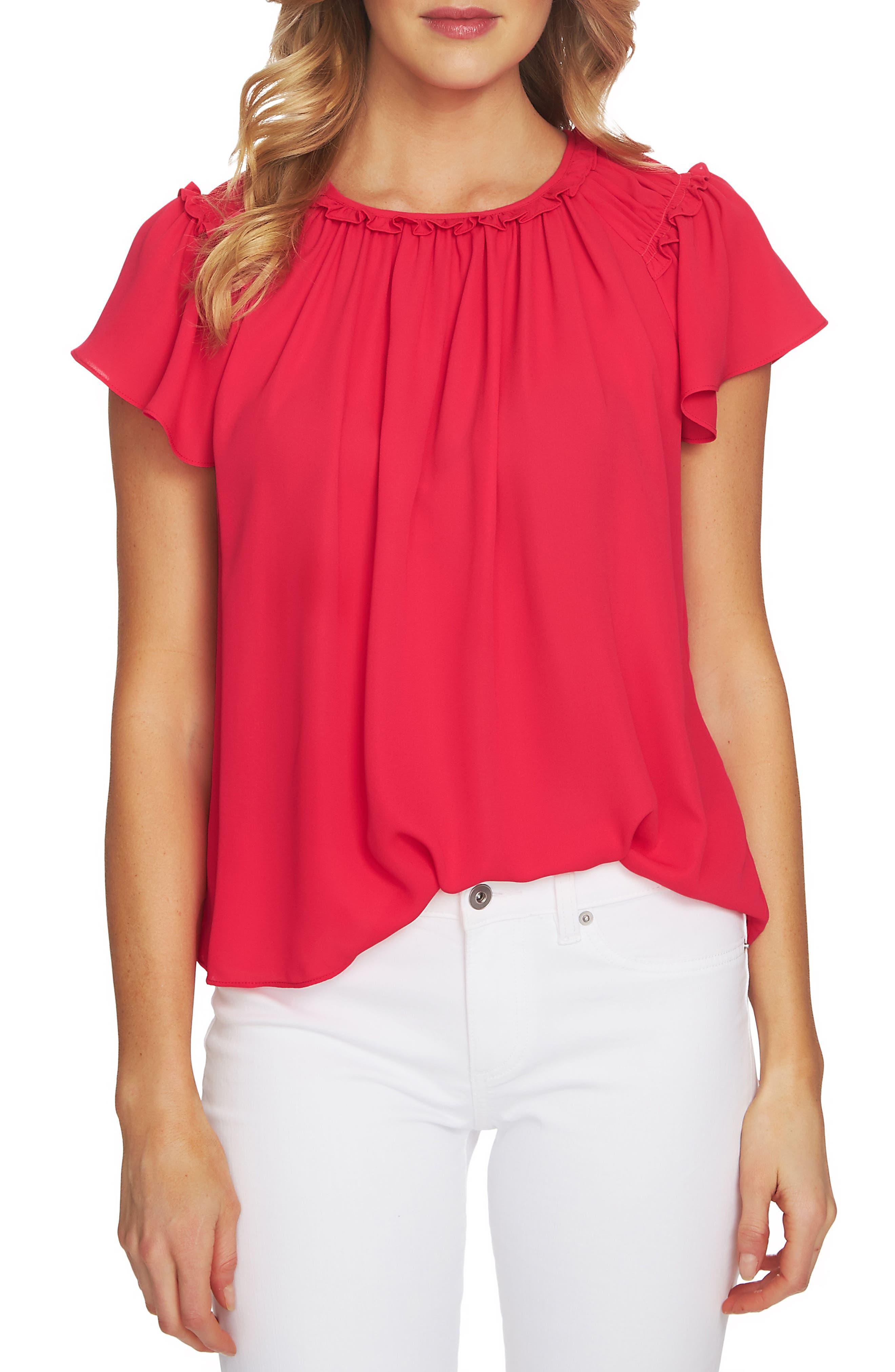Flutter Sleeve Blouse,                         Main,                         color, Viva Pink