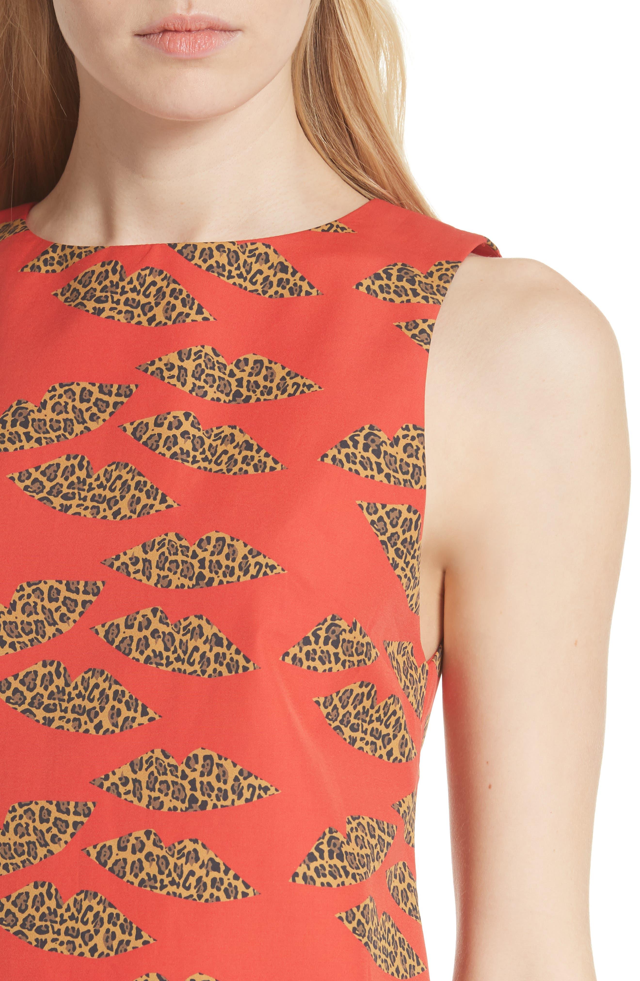 Clyde Cotton Shift Dress,                             Alternate thumbnail 4, color,                             Cheetah