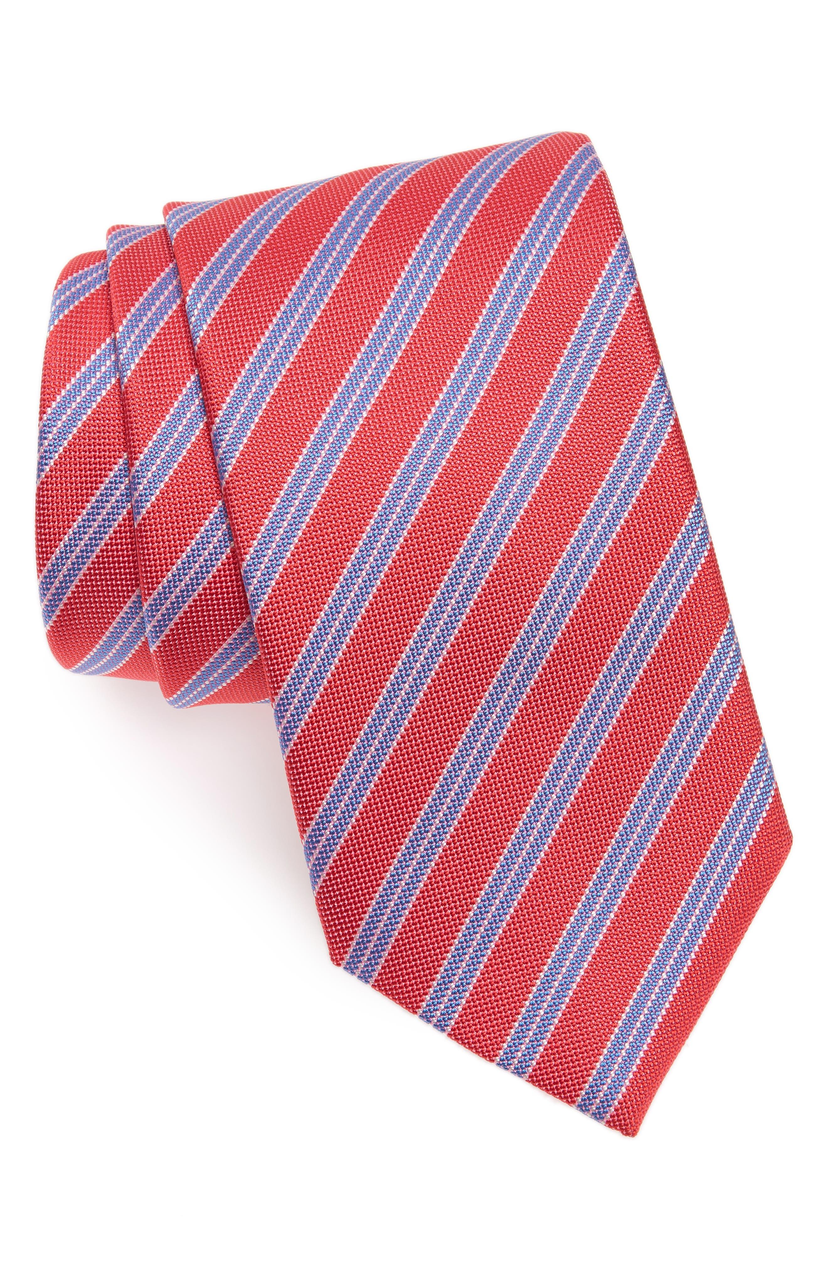 Stripe Silk Tie,                         Main,                         color, Tulip