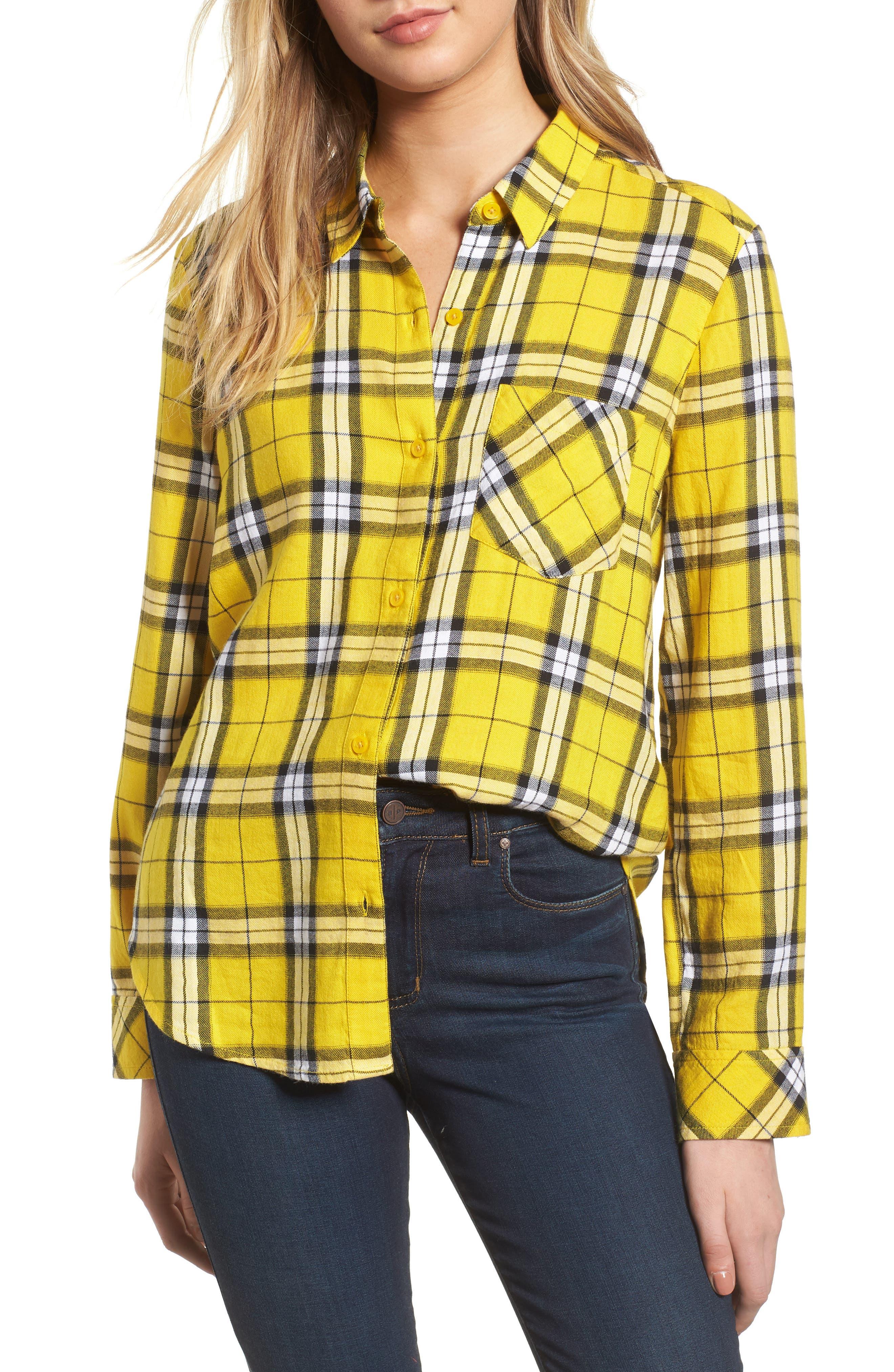 Plaid Shirt,                         Main,                         color, Yellow Sulphur Kipleigh Plaid