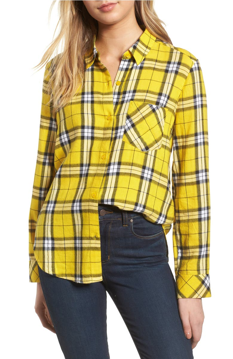 Plaid Shirt,                         Main,                         color, Yellow Sulphur Kipleigh Plaid