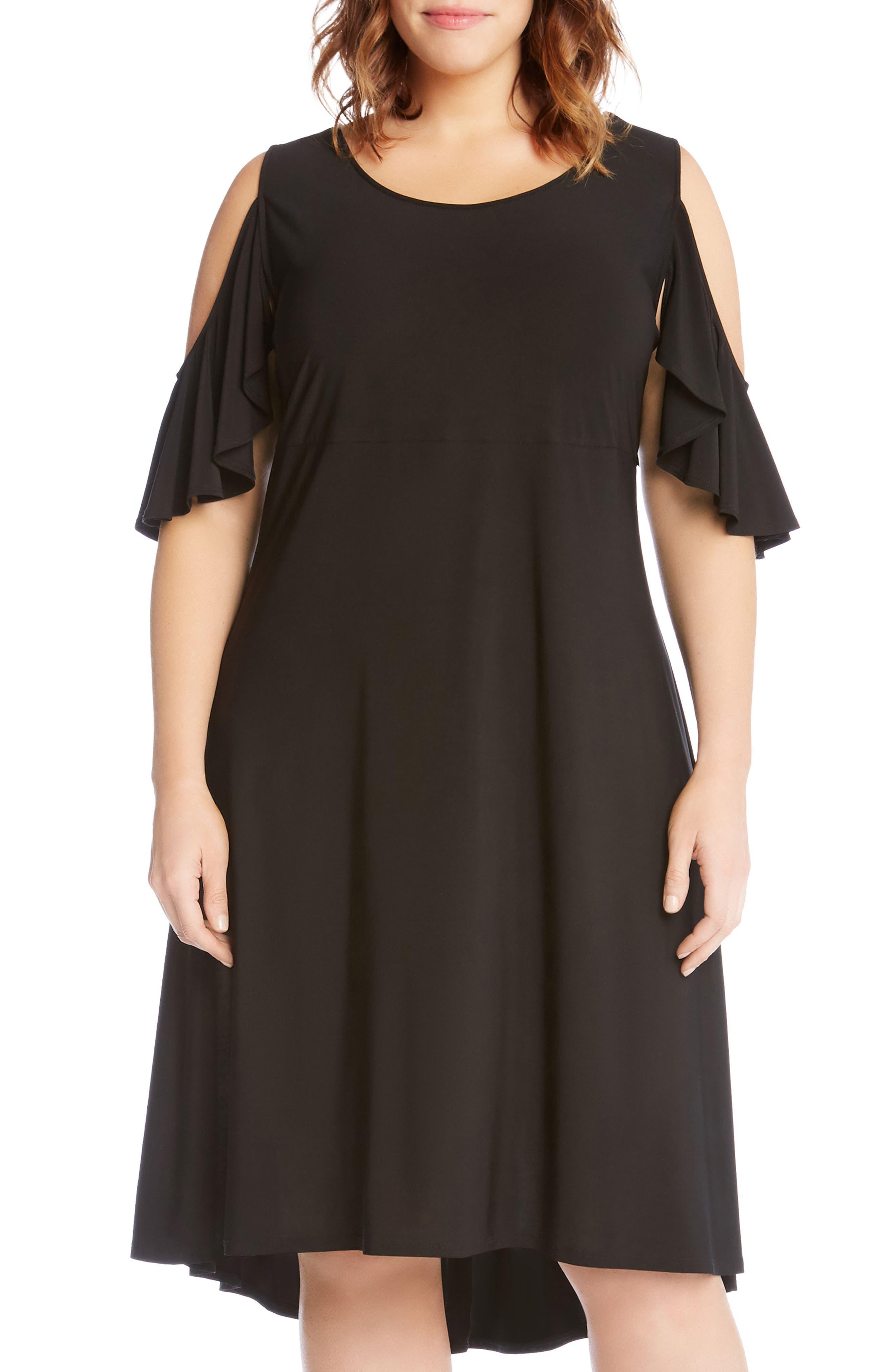 Cold Shoulder High/Low Shift Dress,                             Alternate thumbnail 3, color,                             Black