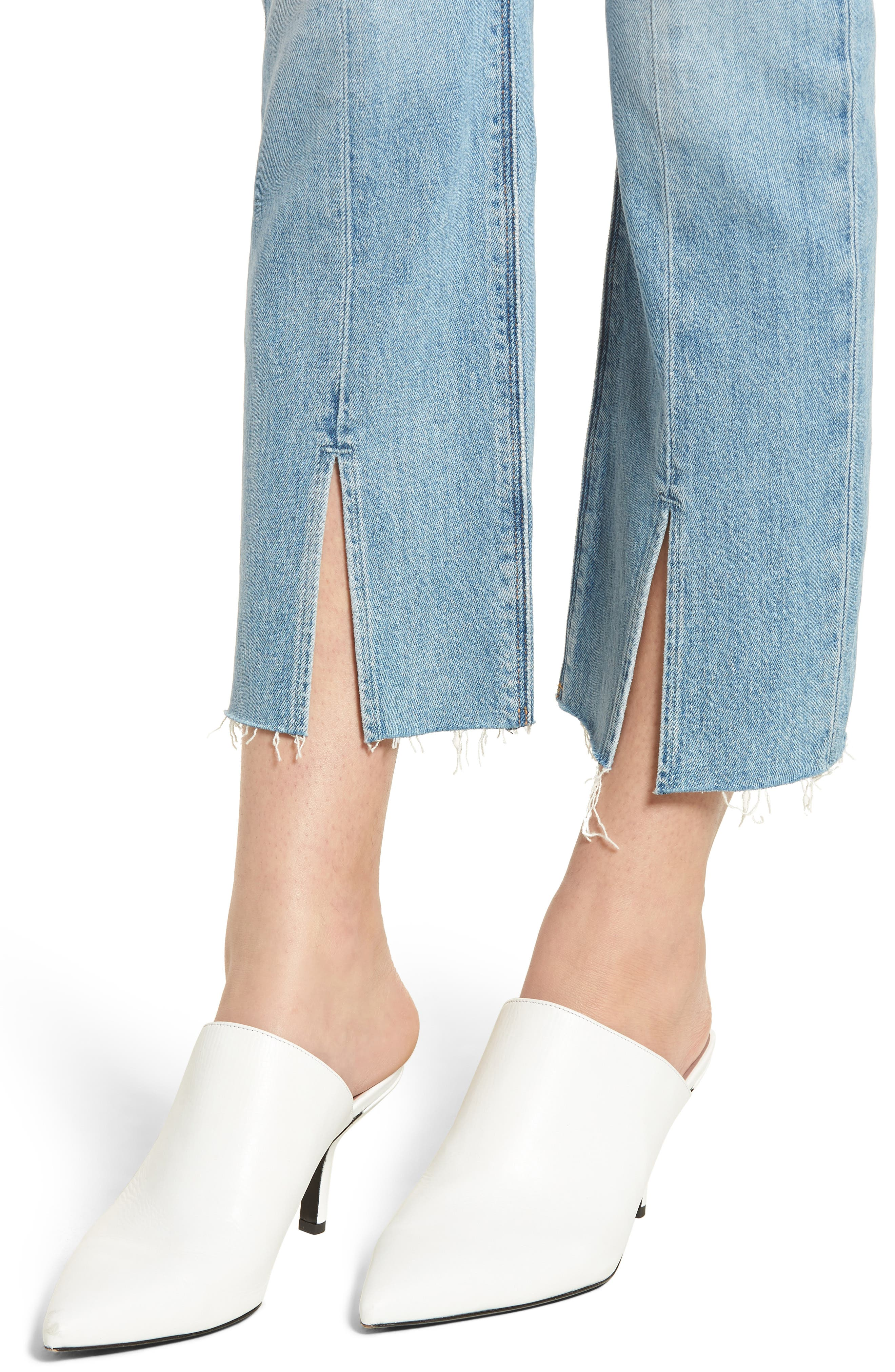 Zoeey Crop Split Hem Straight Leg Jeans,                             Alternate thumbnail 4, color,                             Mystical Love