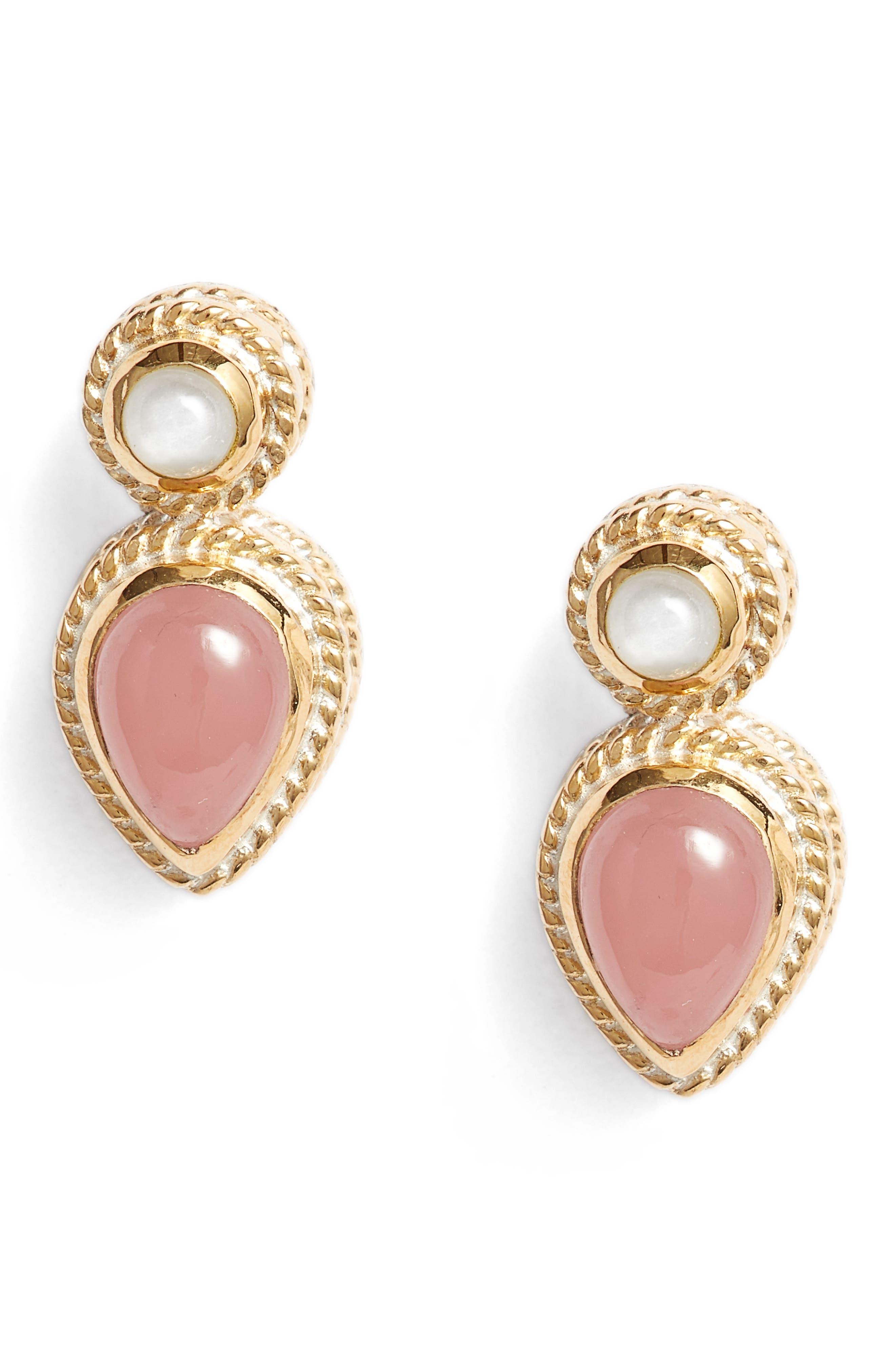 Guava Quartz & Moonstone Stud Earrings,                             Main thumbnail 1, color,                             Gold/ Guava/ Moonstone