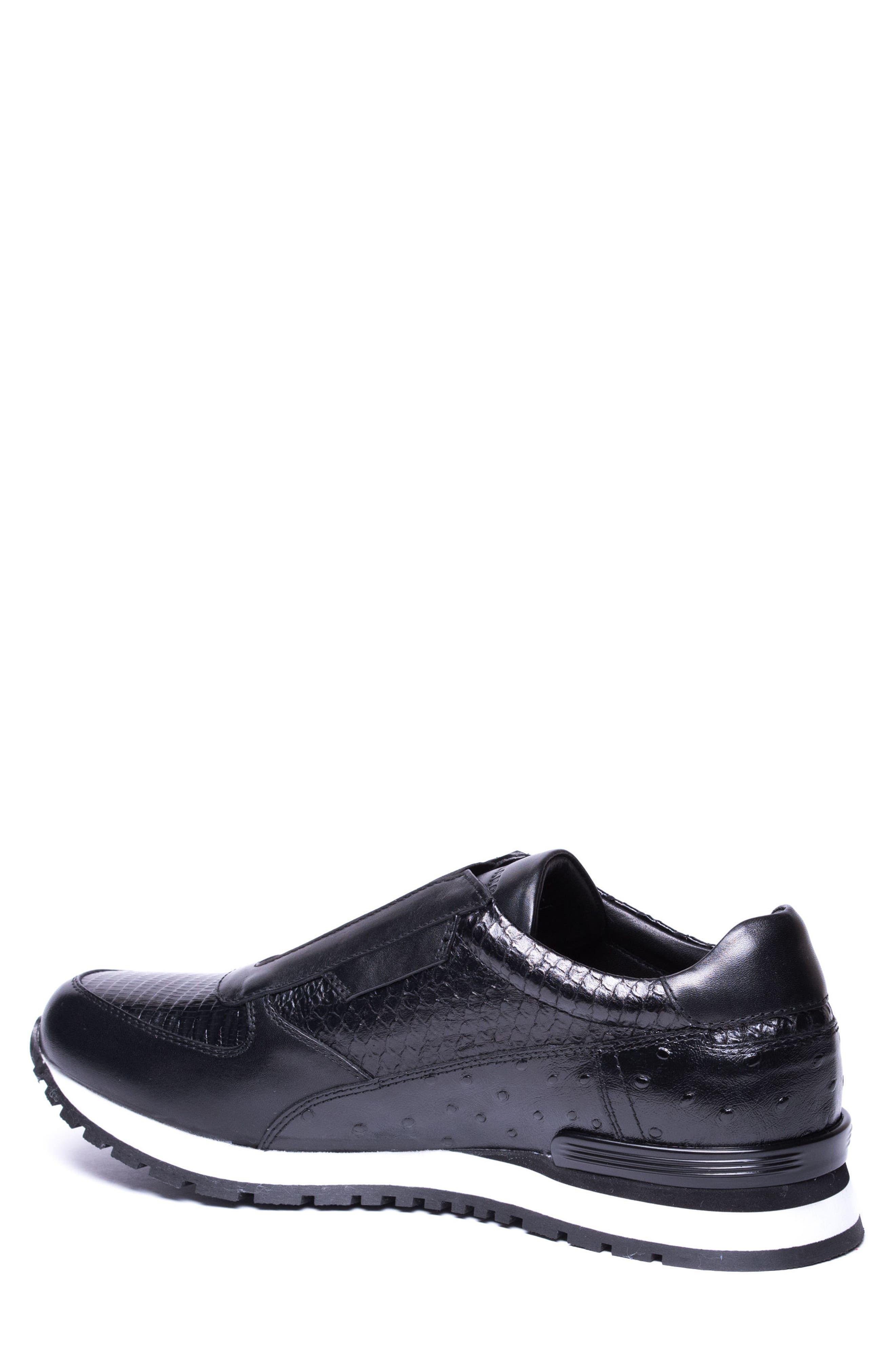 Barrett Embossed Slip-On Sneaker,                             Alternate thumbnail 2, color,                             Black Leather