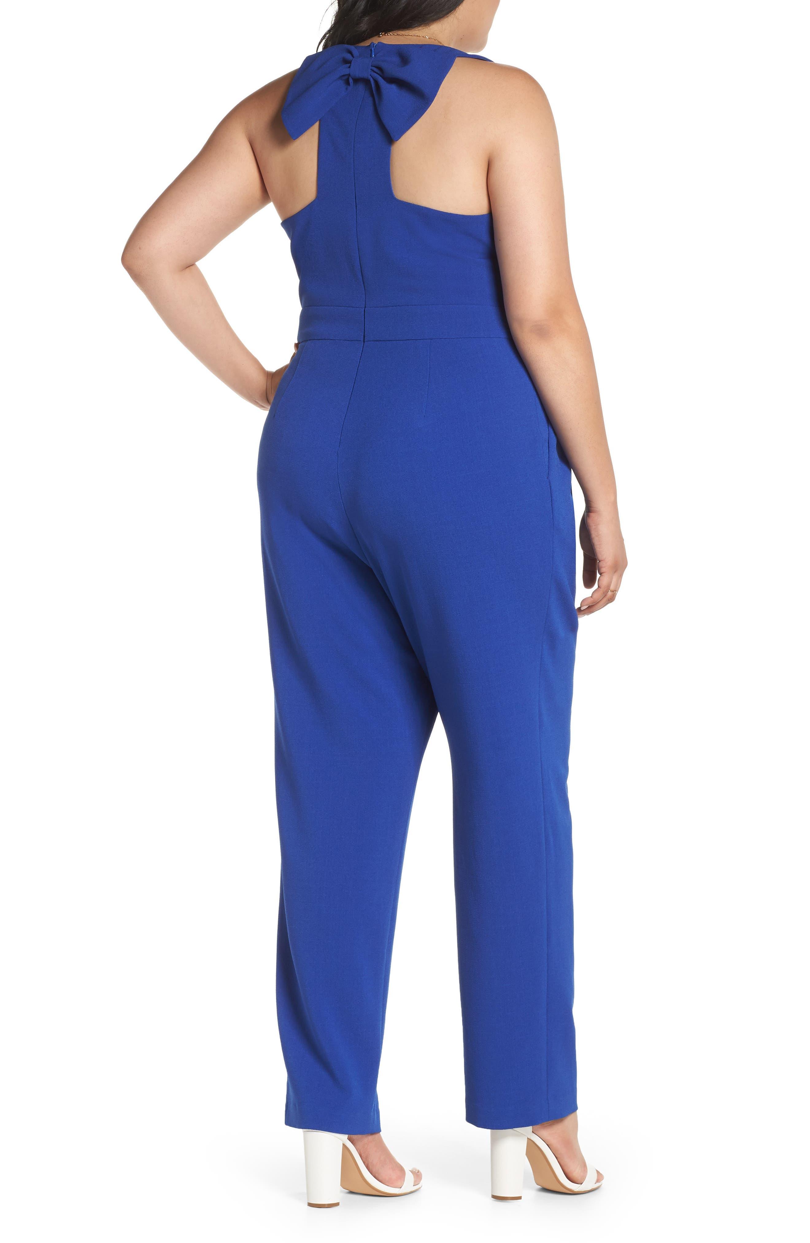 Bow Back Jumpsuit,                             Alternate thumbnail 2, color,                             Blue Mazarine