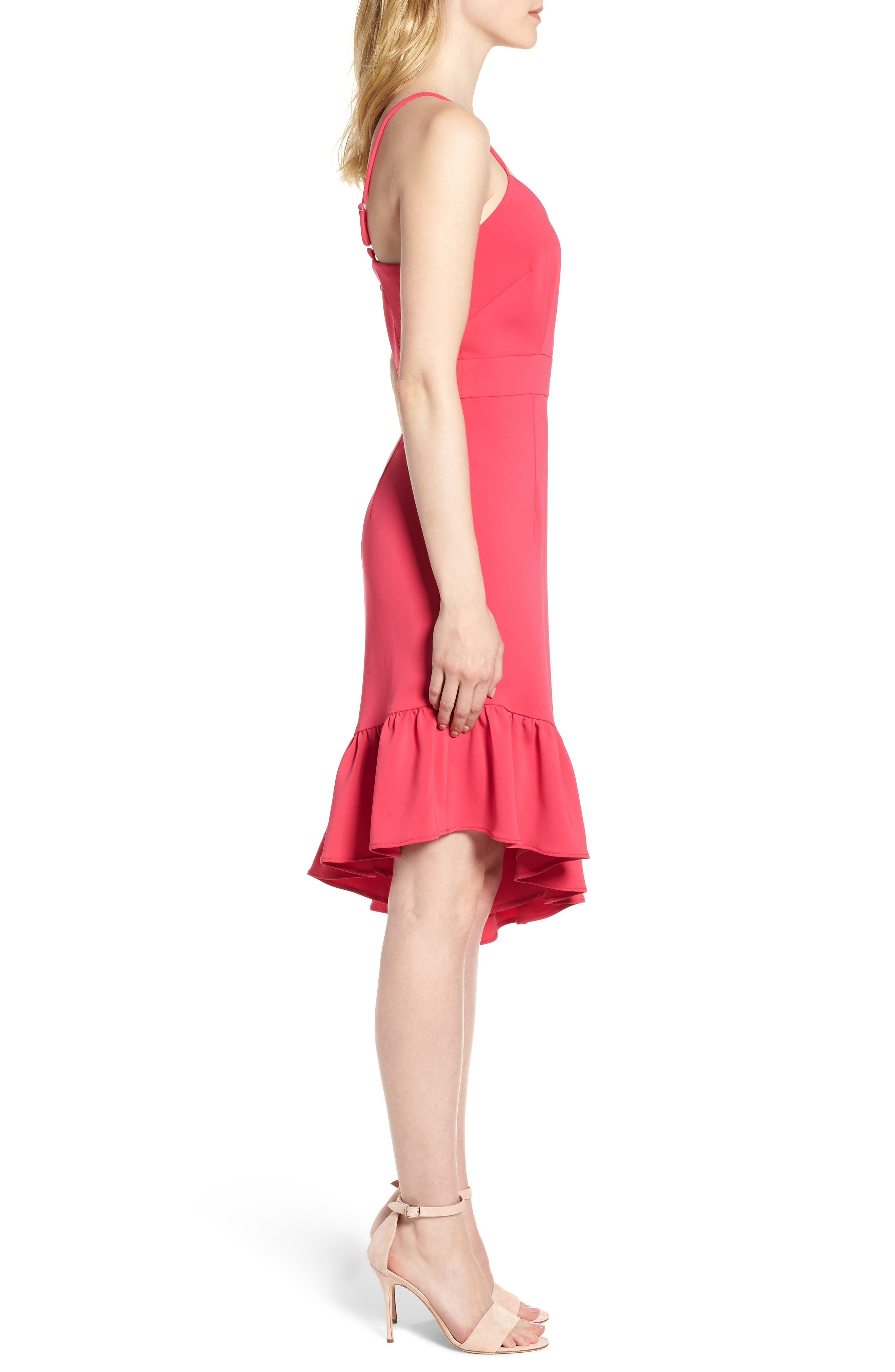 Asymmetric Ruffle Hem Dress,                             Alternate thumbnail 3, color,                             Pink Bright