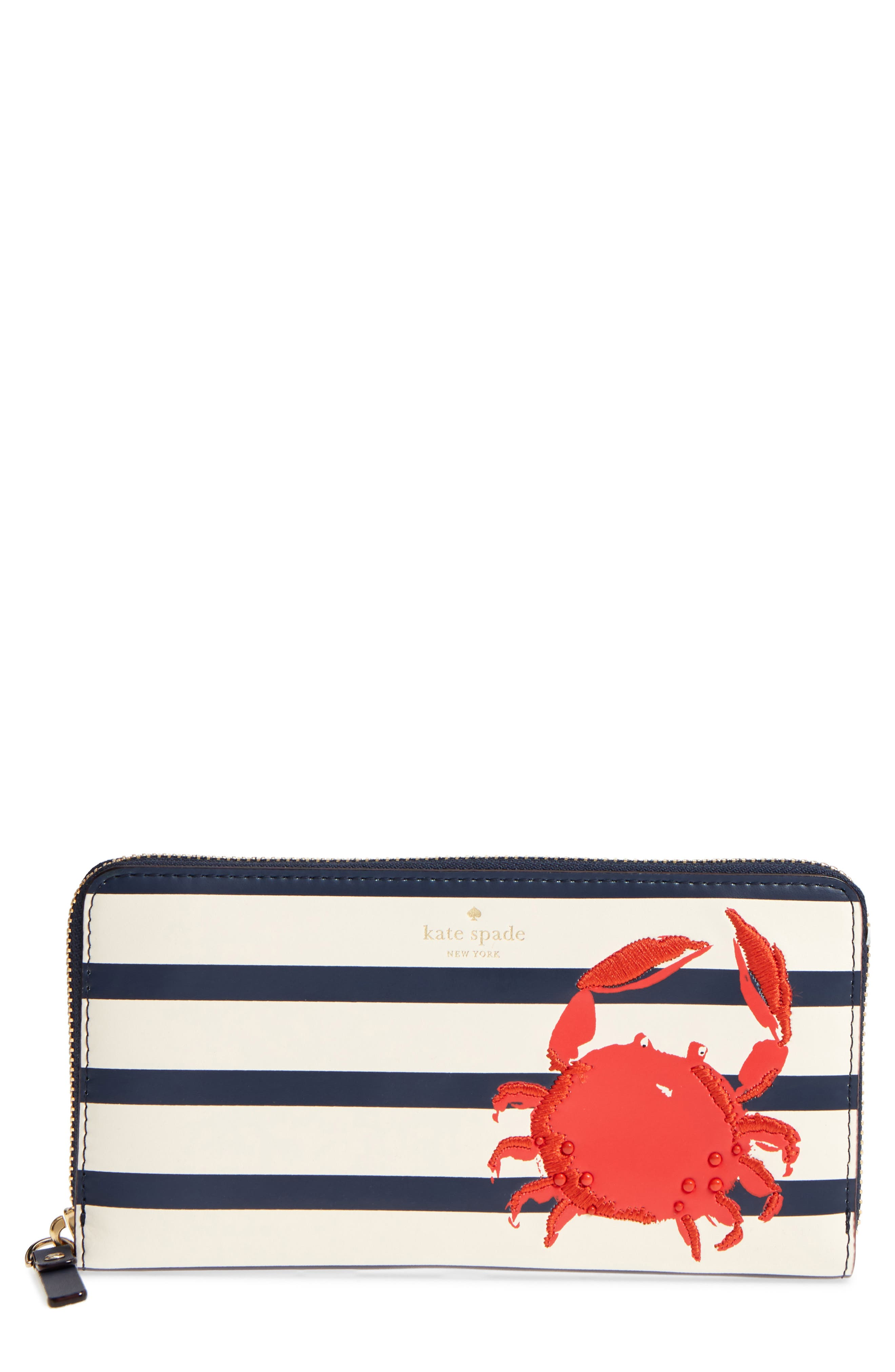 shore thing - crab embellished leather wallet,                         Main,                         color, Multi