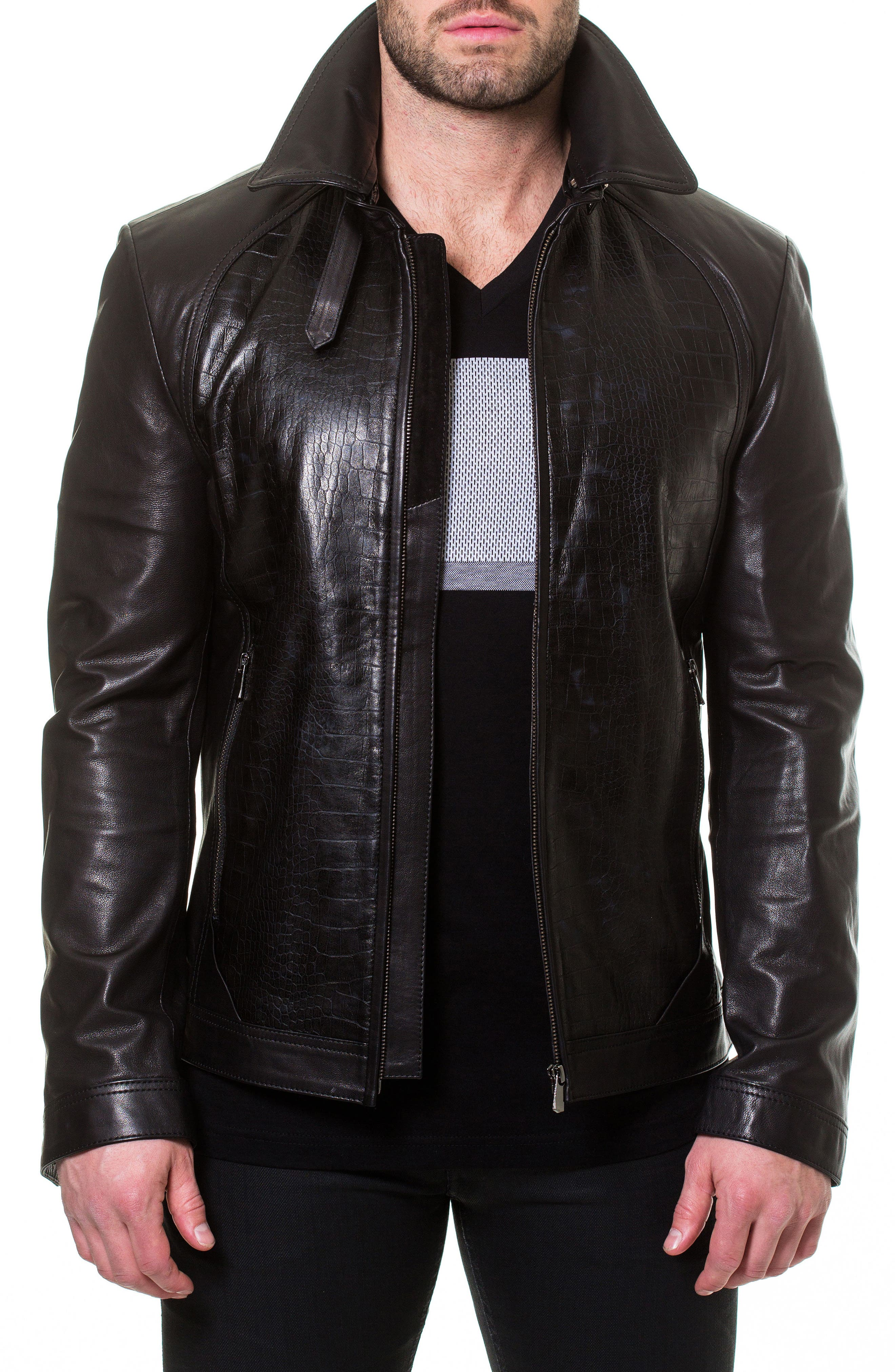 Collared Leather Jacket,                         Main,                         color, Black