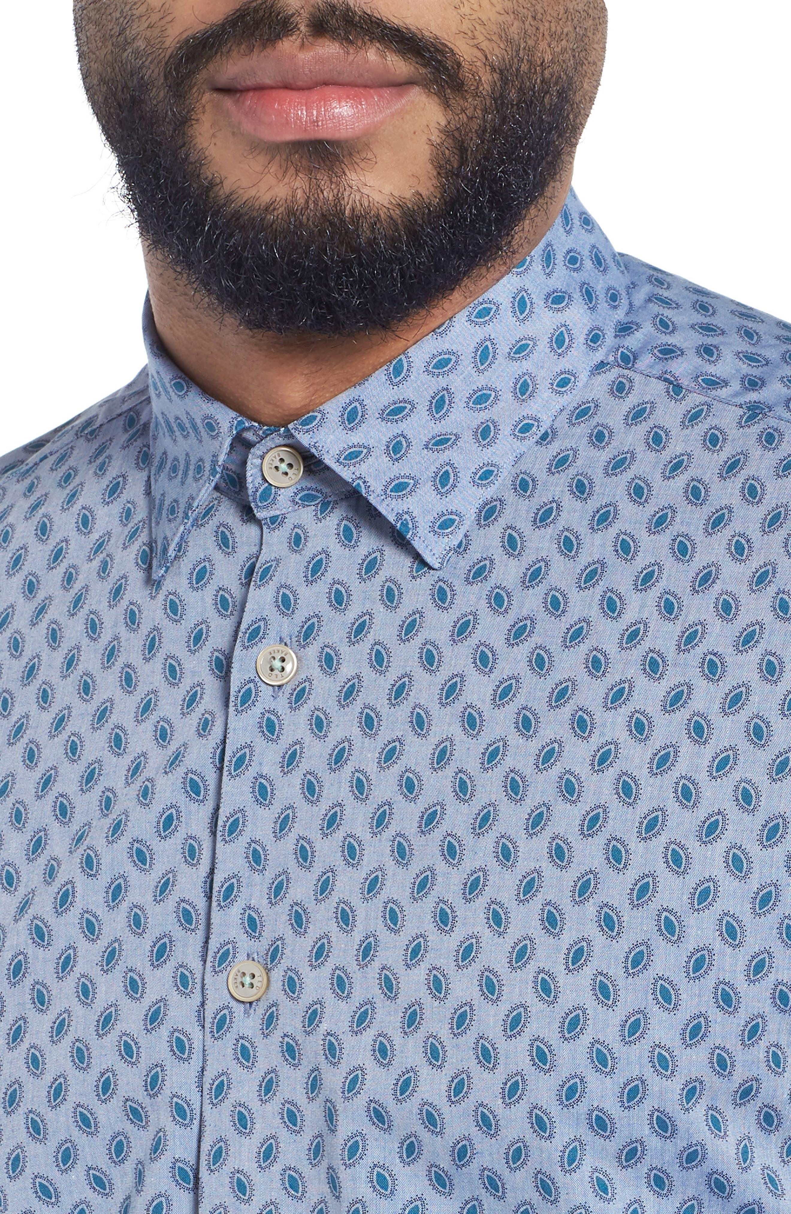 Newfott Extra Slim Fit Short Sleeve Sport Shirt,                             Alternate thumbnail 2, color,                             Blue