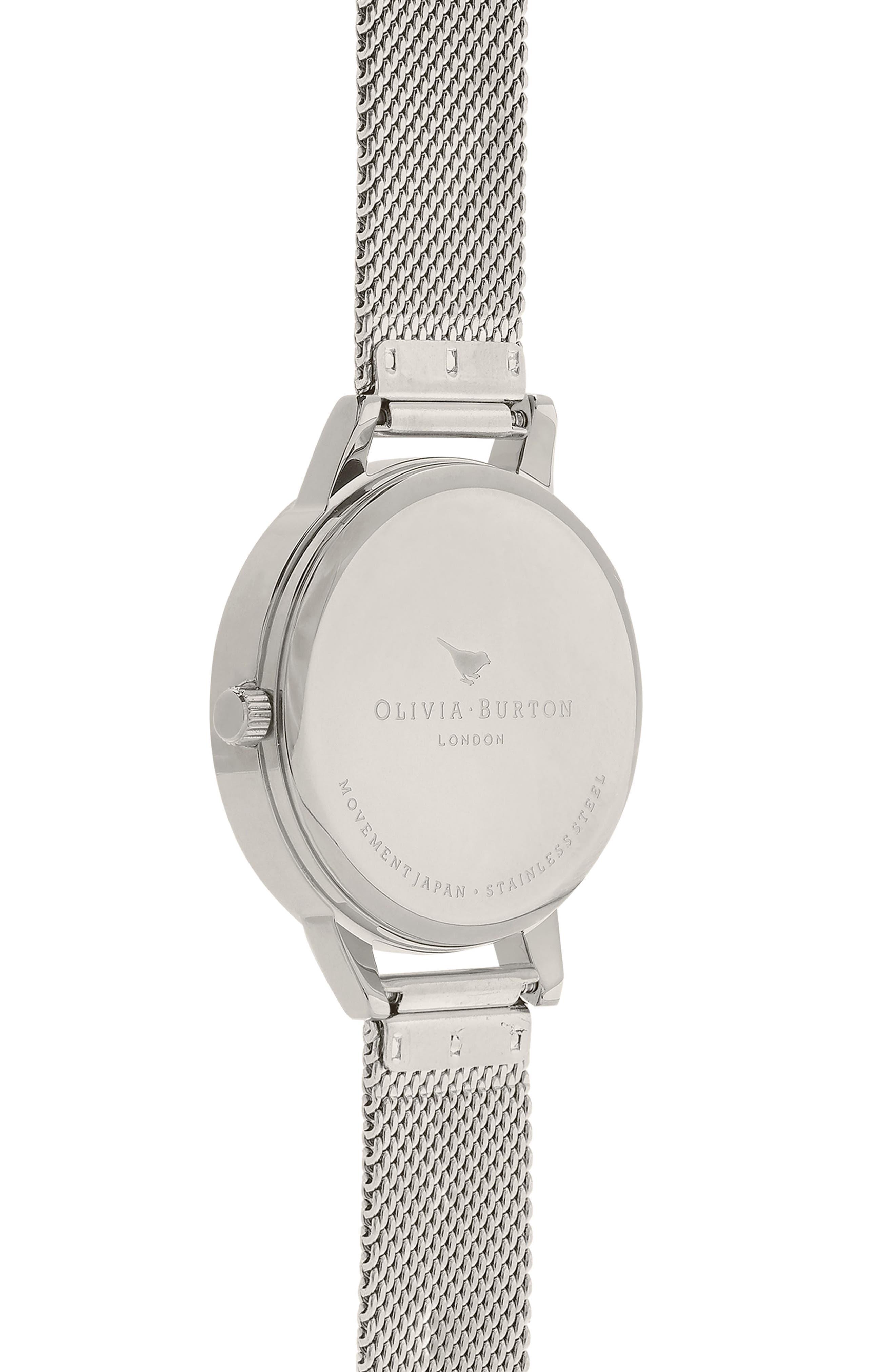 Lace Detail Mesh Strap Watch, 30mm,                             Alternate thumbnail 2, color,                             Silver/ Lace/ Silver