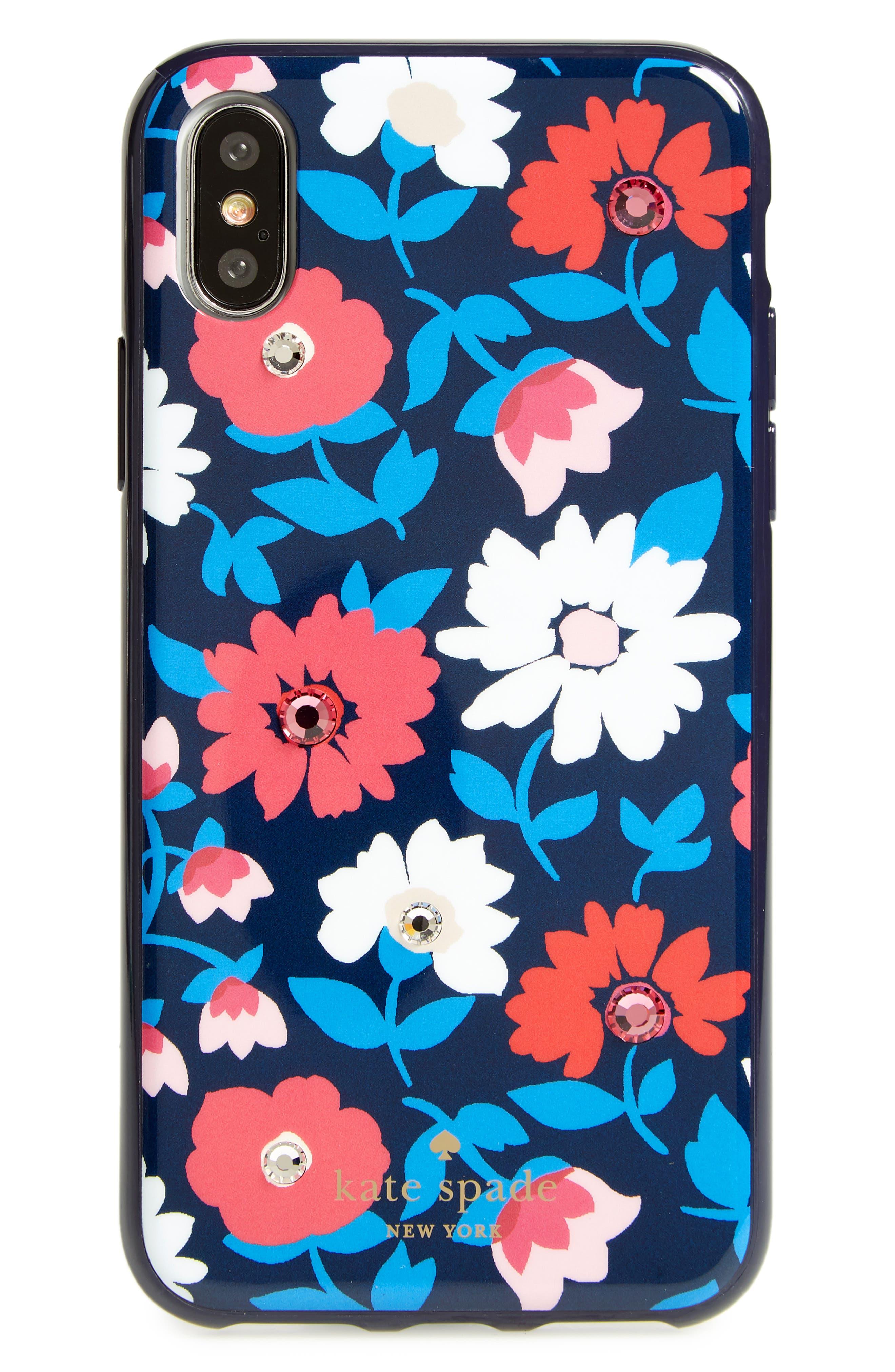 jeweled daisy iPhone X case,                             Main thumbnail 1, color,                             Blue Multi
