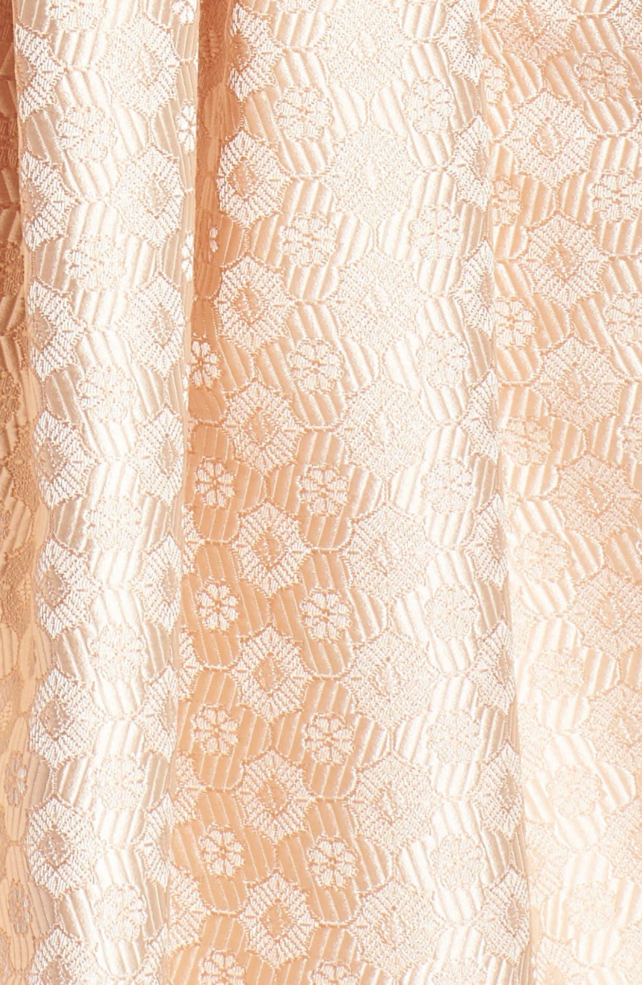 Grace Pleated Jacquard Fit & Flare Dress,                             Alternate thumbnail 7, color,                             Cream