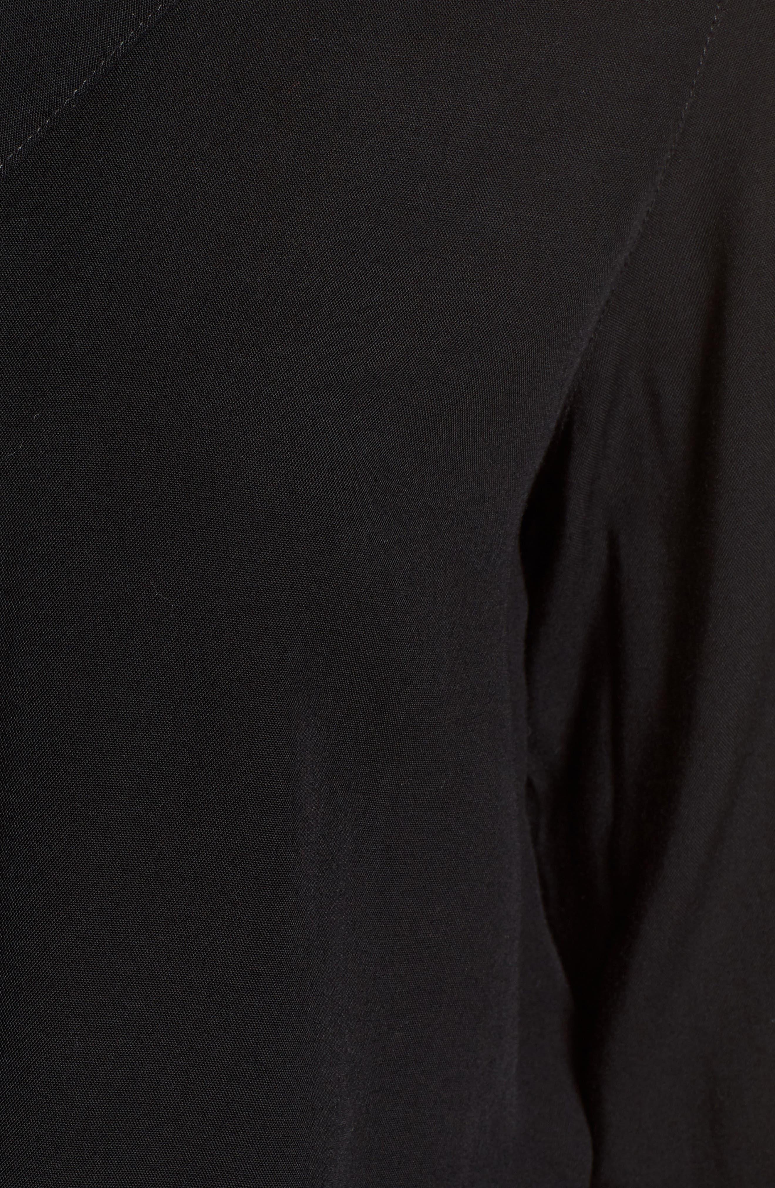 Tie Front Shirt,                             Alternate thumbnail 6, color,                             Black