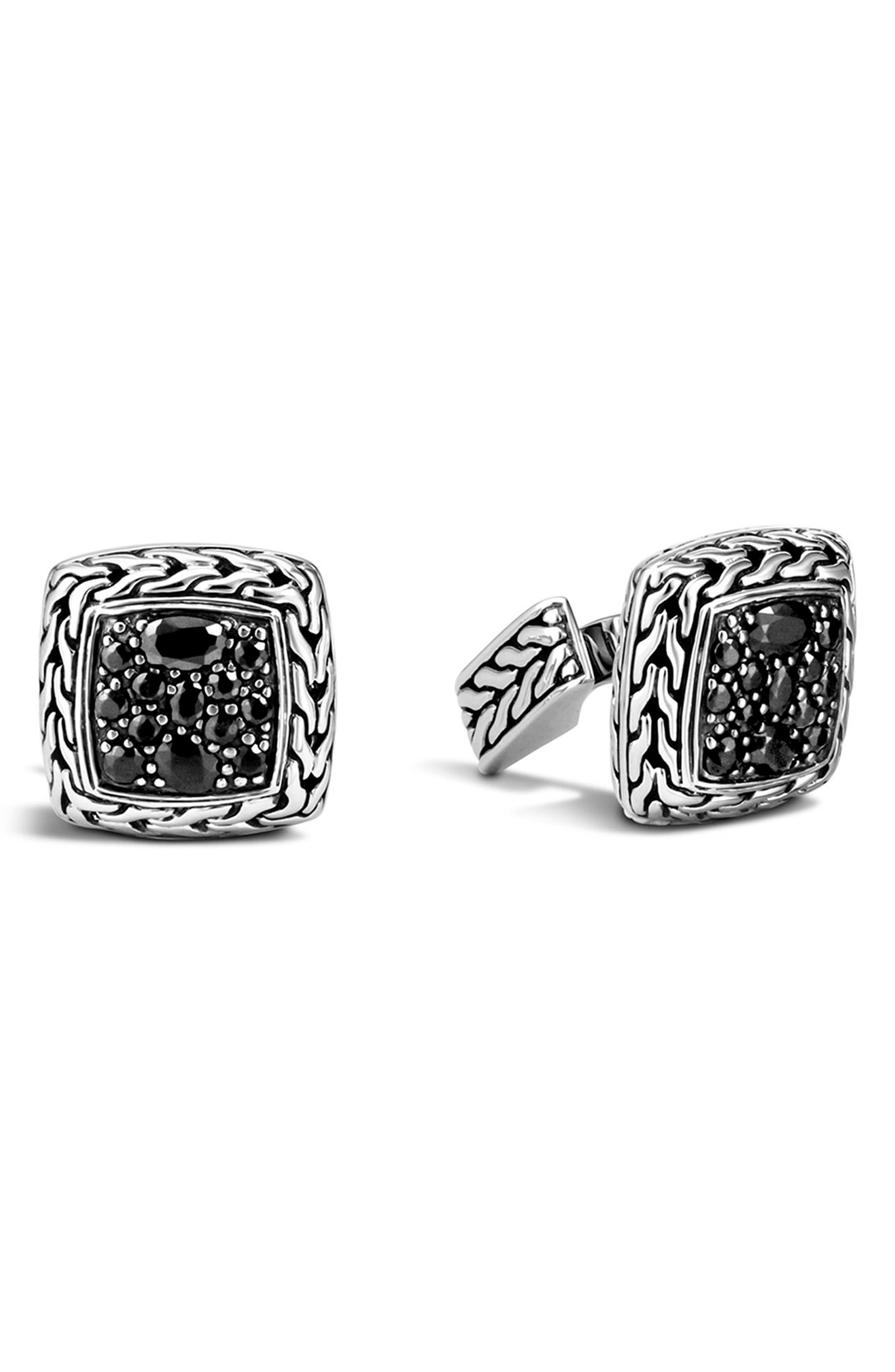 Lava Square Cuff Links,                         Main,                         color, Silver/ Black Sapphire