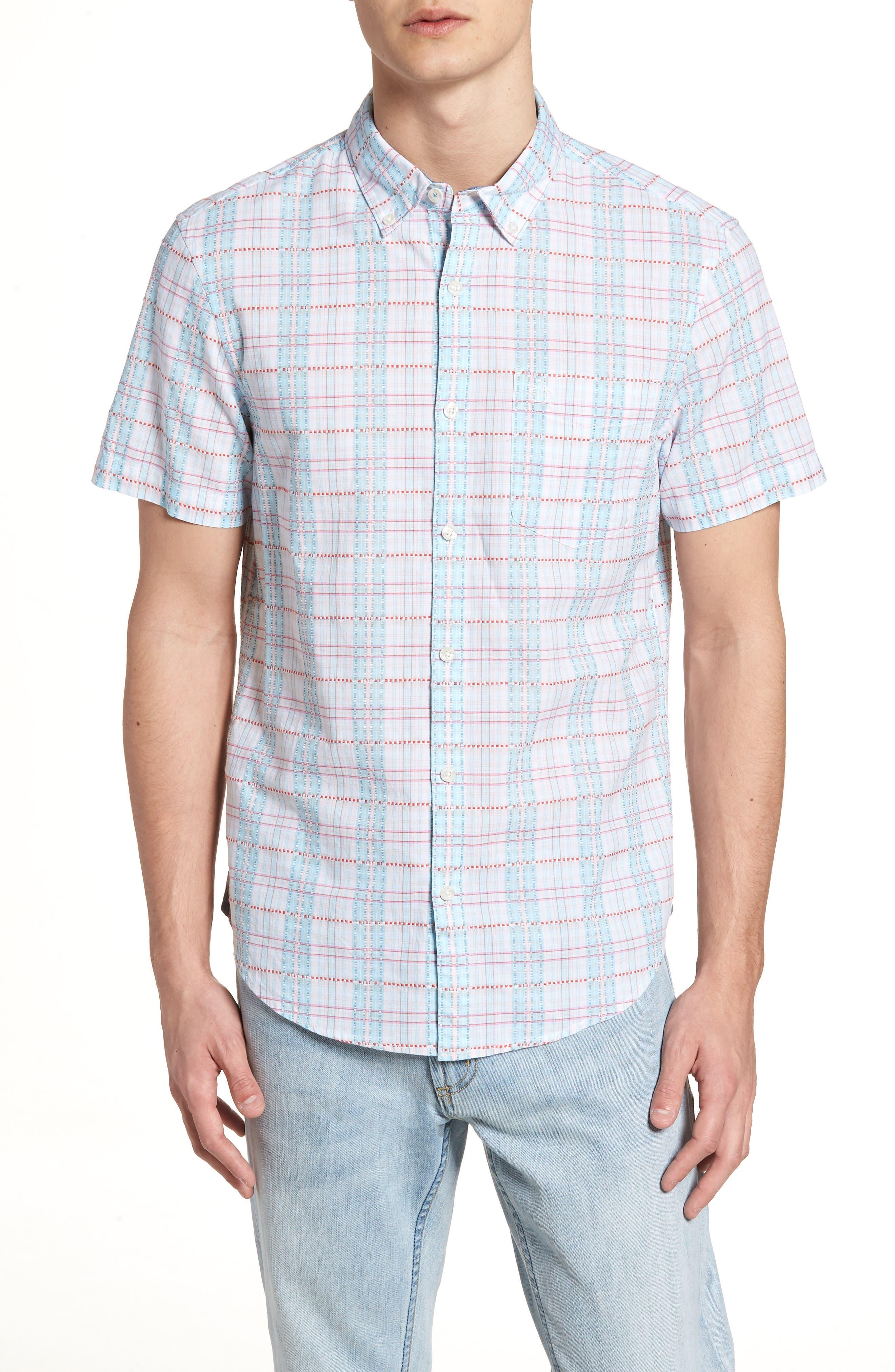 Dobby Plaid Woven Shirt,                             Main thumbnail 1, color,                             Bright White