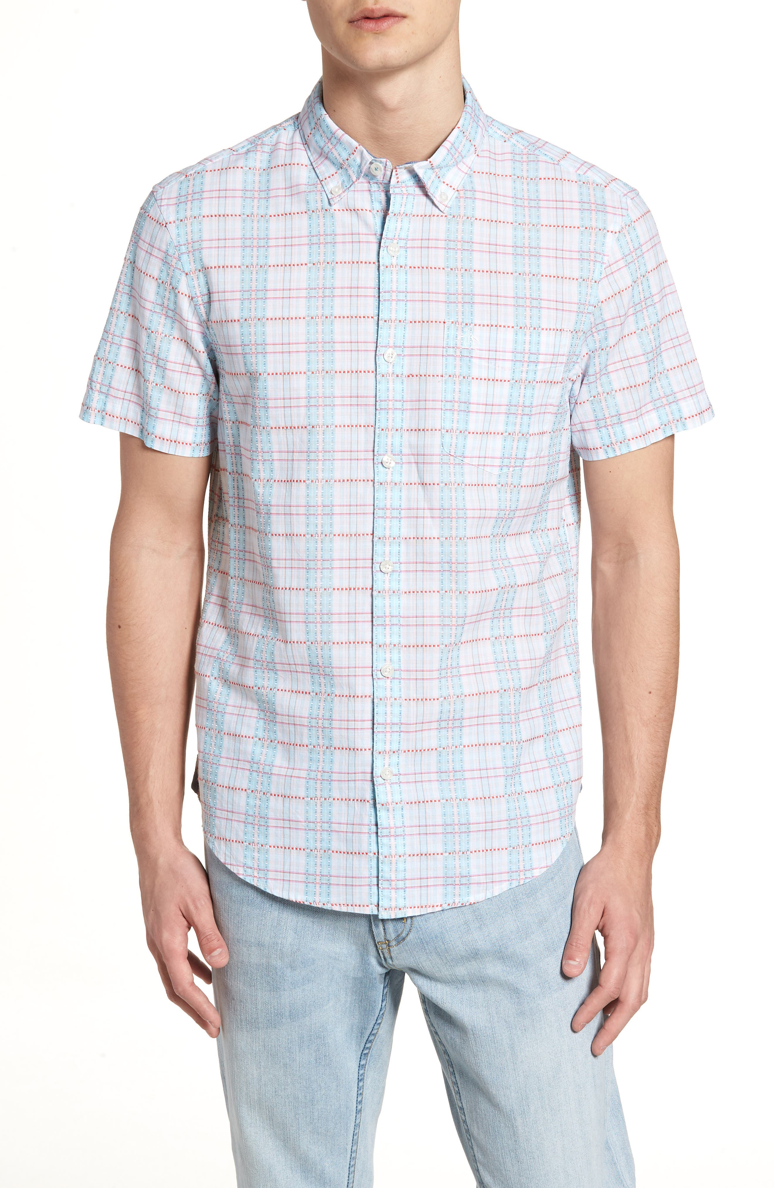 Dobby Plaid Woven Shirt,                         Main,                         color, Bright White