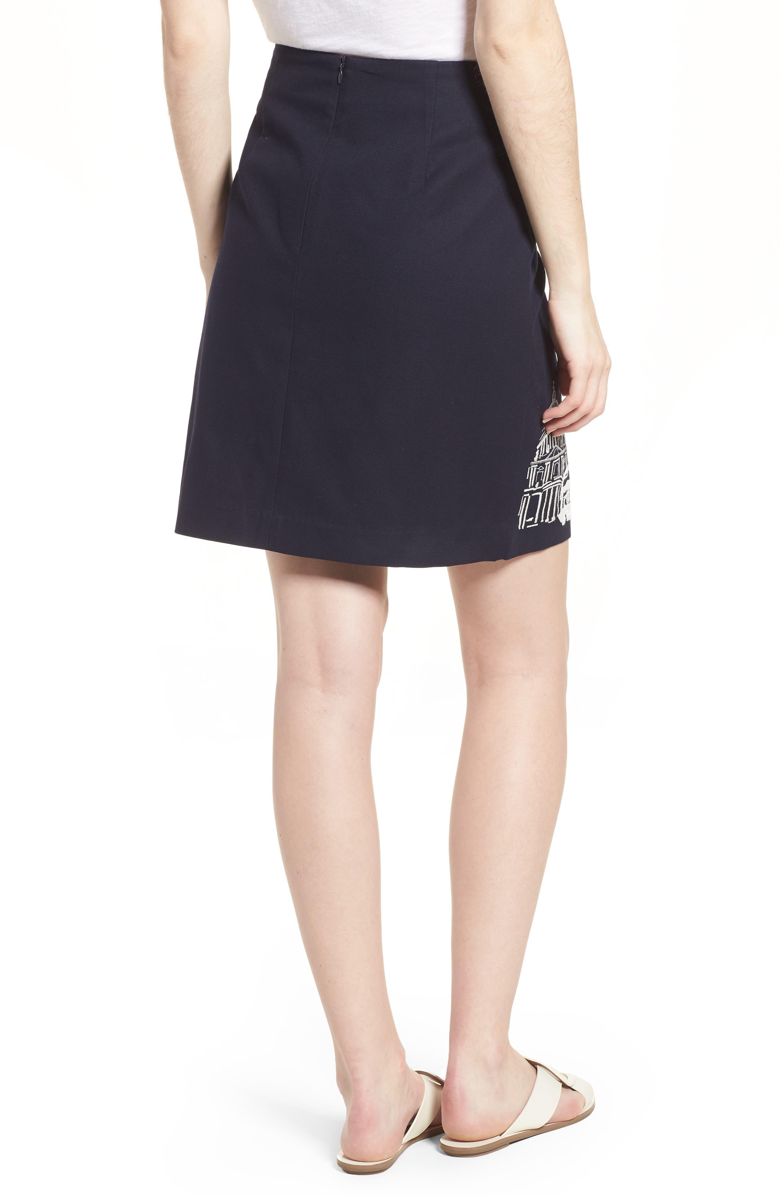 Tilda Embroidered Cotton Skirt,                             Alternate thumbnail 2, color,                             Navy