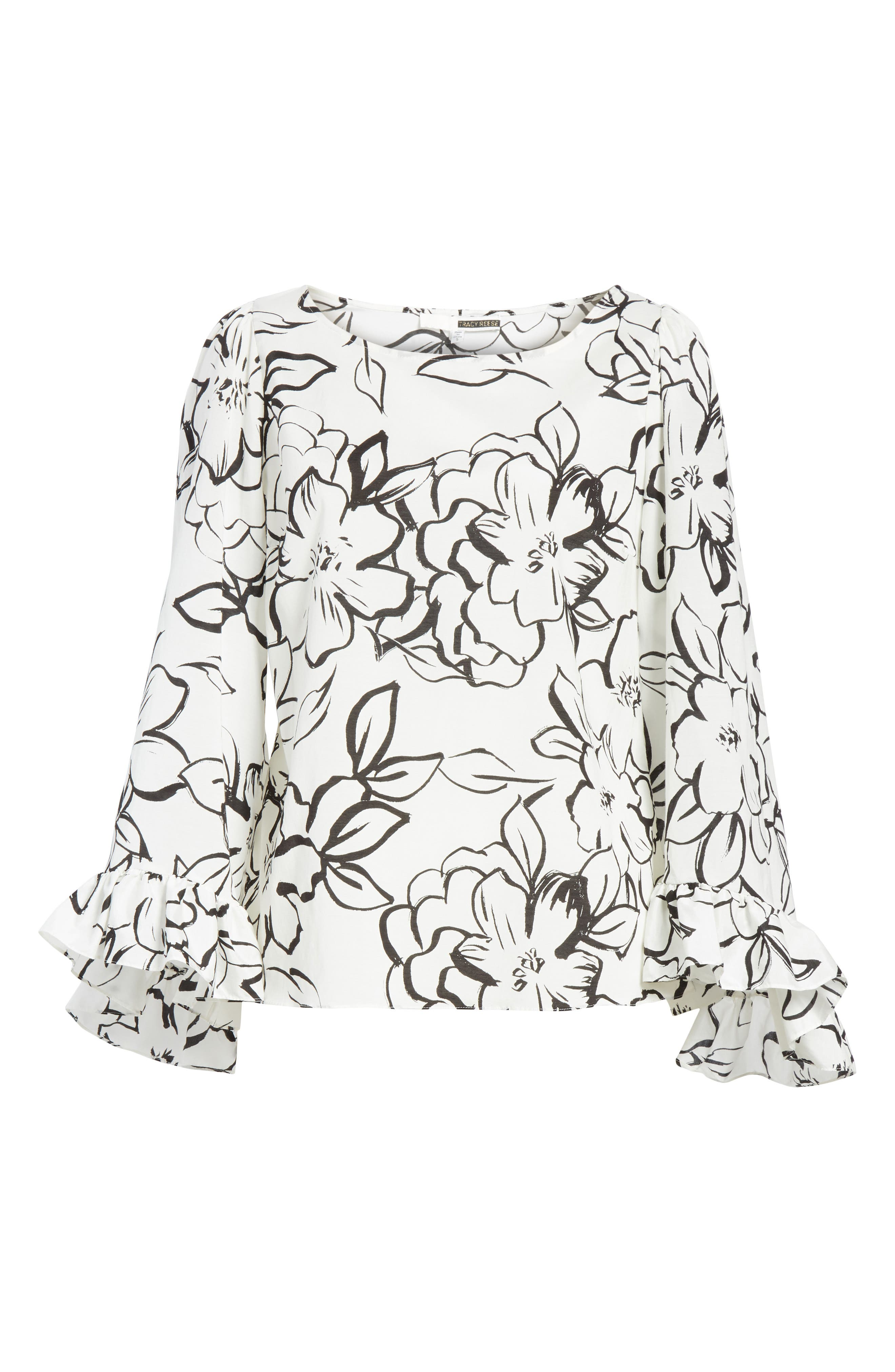 Flounced Floral Top,                             Alternate thumbnail 6, color,                             Neutral Floral