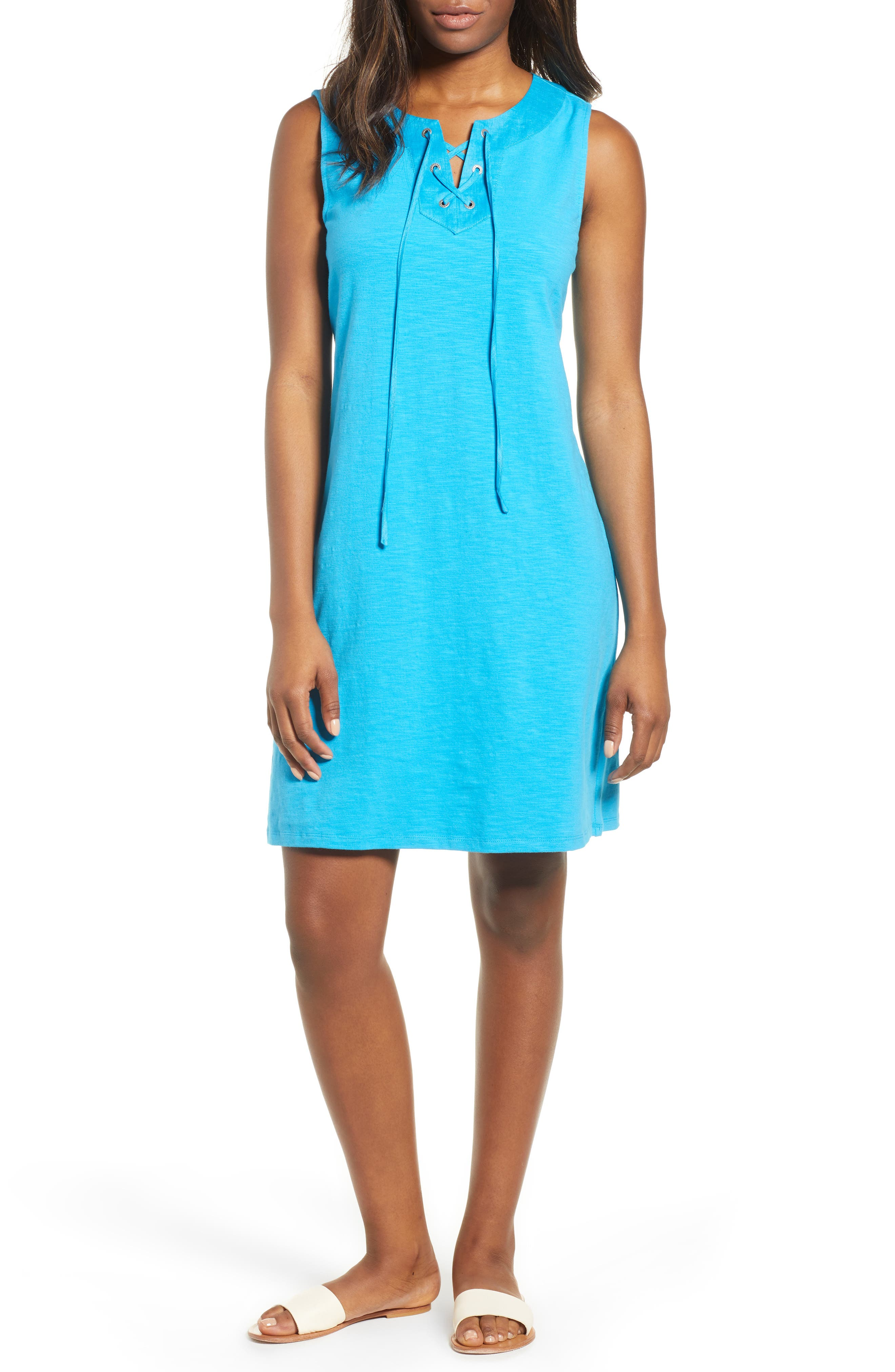 Lace-Up Shift Dress,                         Main,                         color, Pool Party