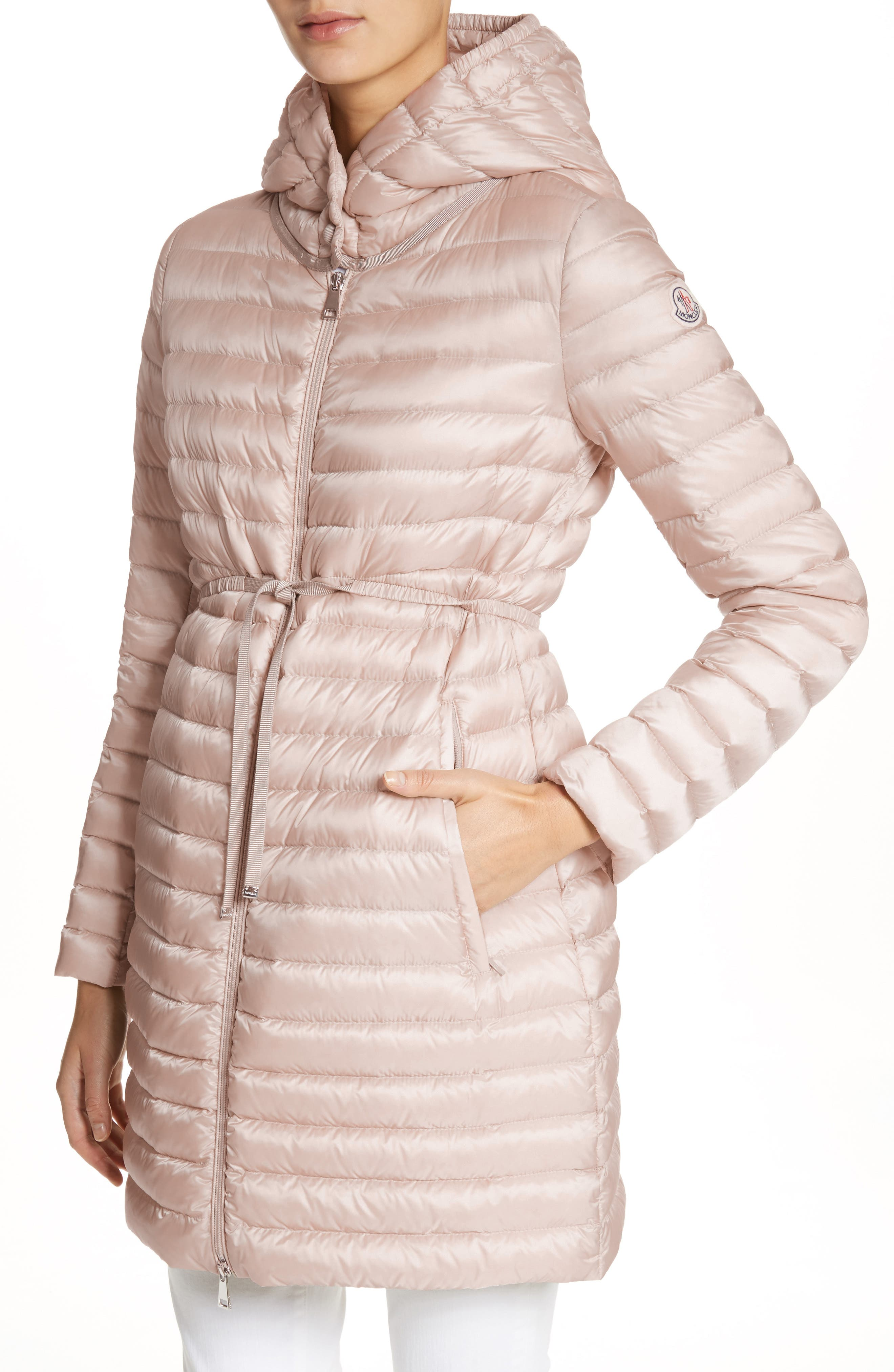 Barbel Water Resistant Long Hooded Down Jacket,                             Alternate thumbnail 4, color,                             Blush