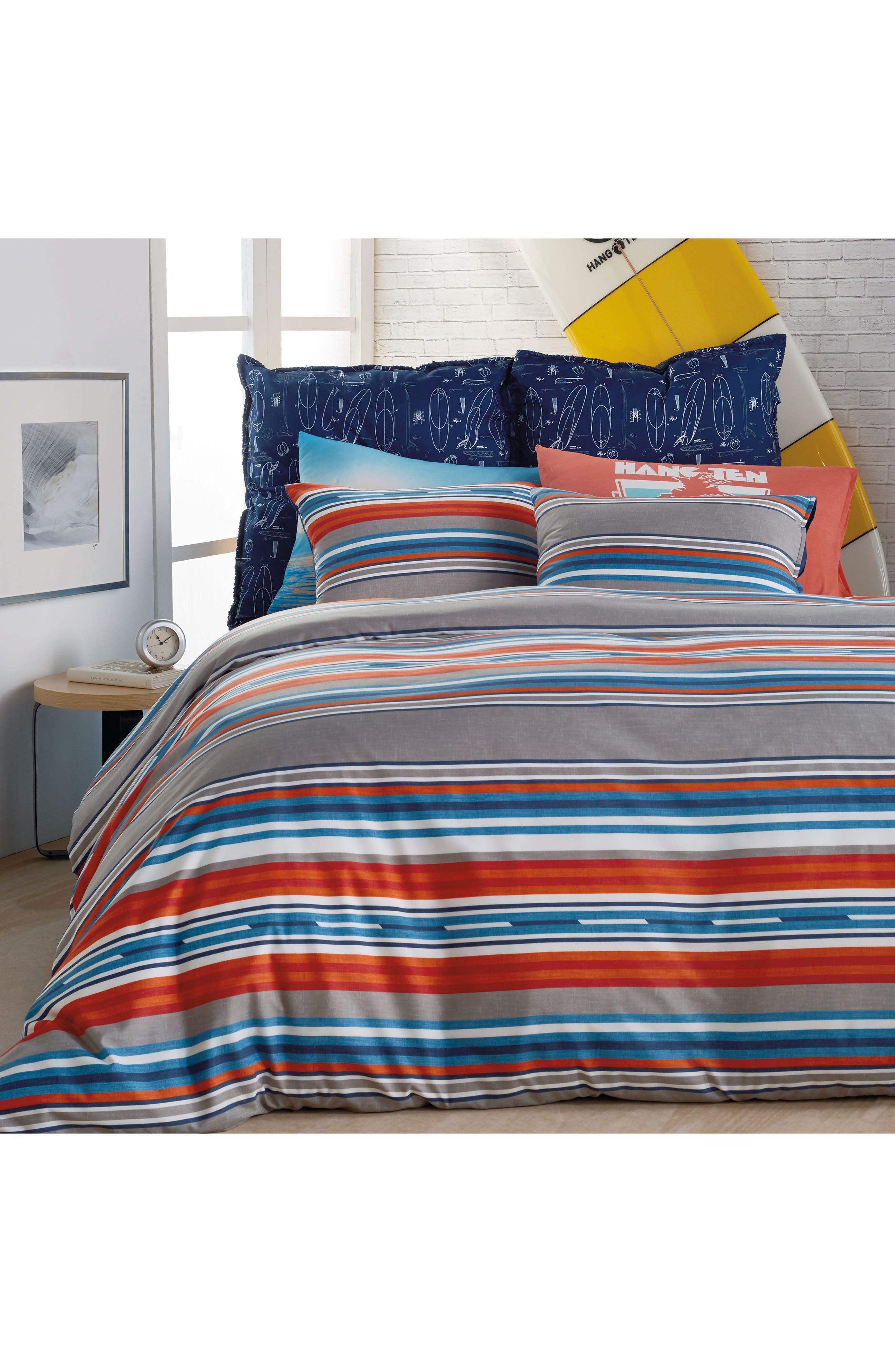 Surfboard Stripe Comforter & Sham Set,                             Main thumbnail 1, color,                             Grey