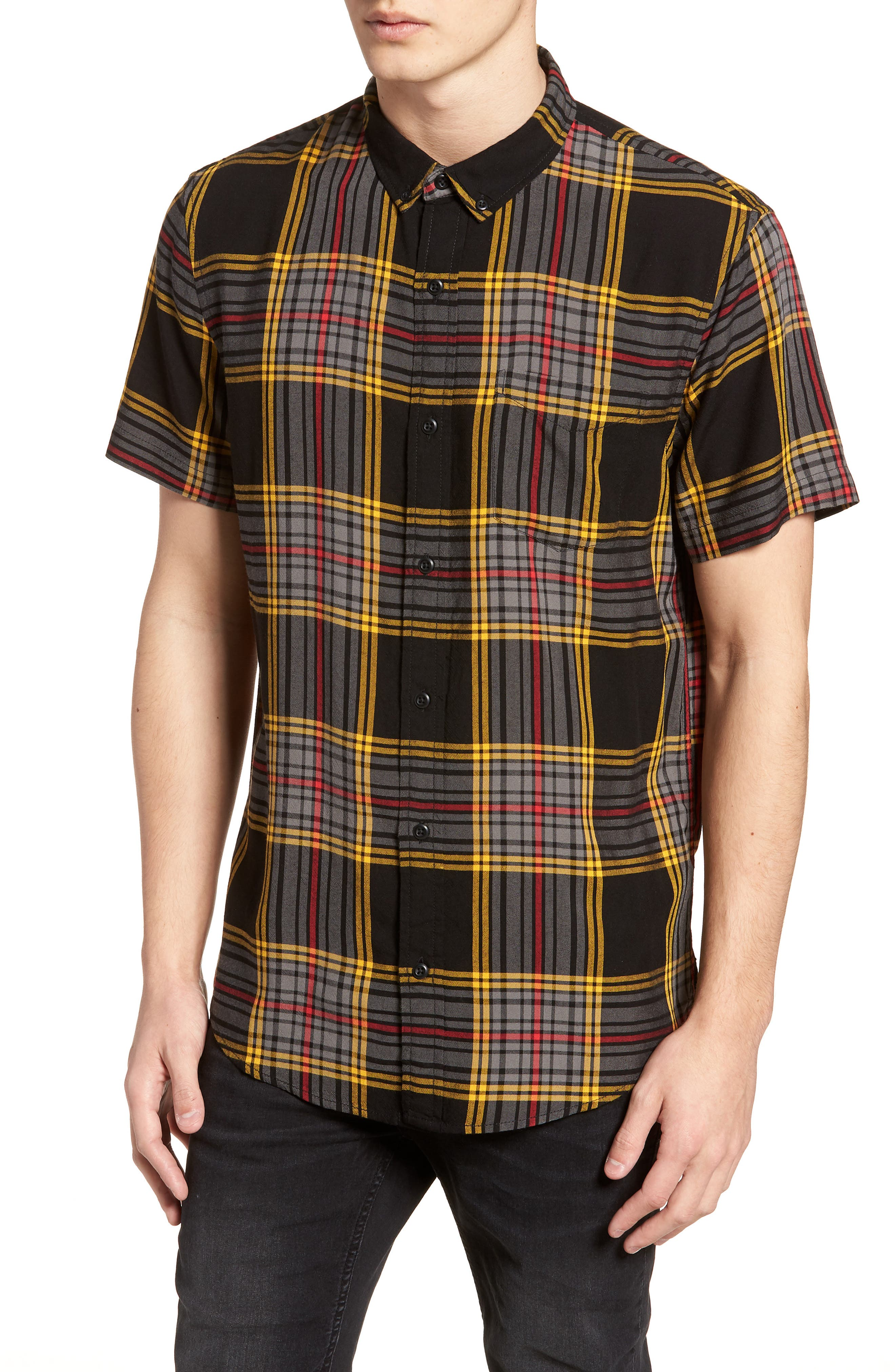 Yarn Dyed Plaid Shirt,                         Main,                         color, Black Yellow Ethan Plaid