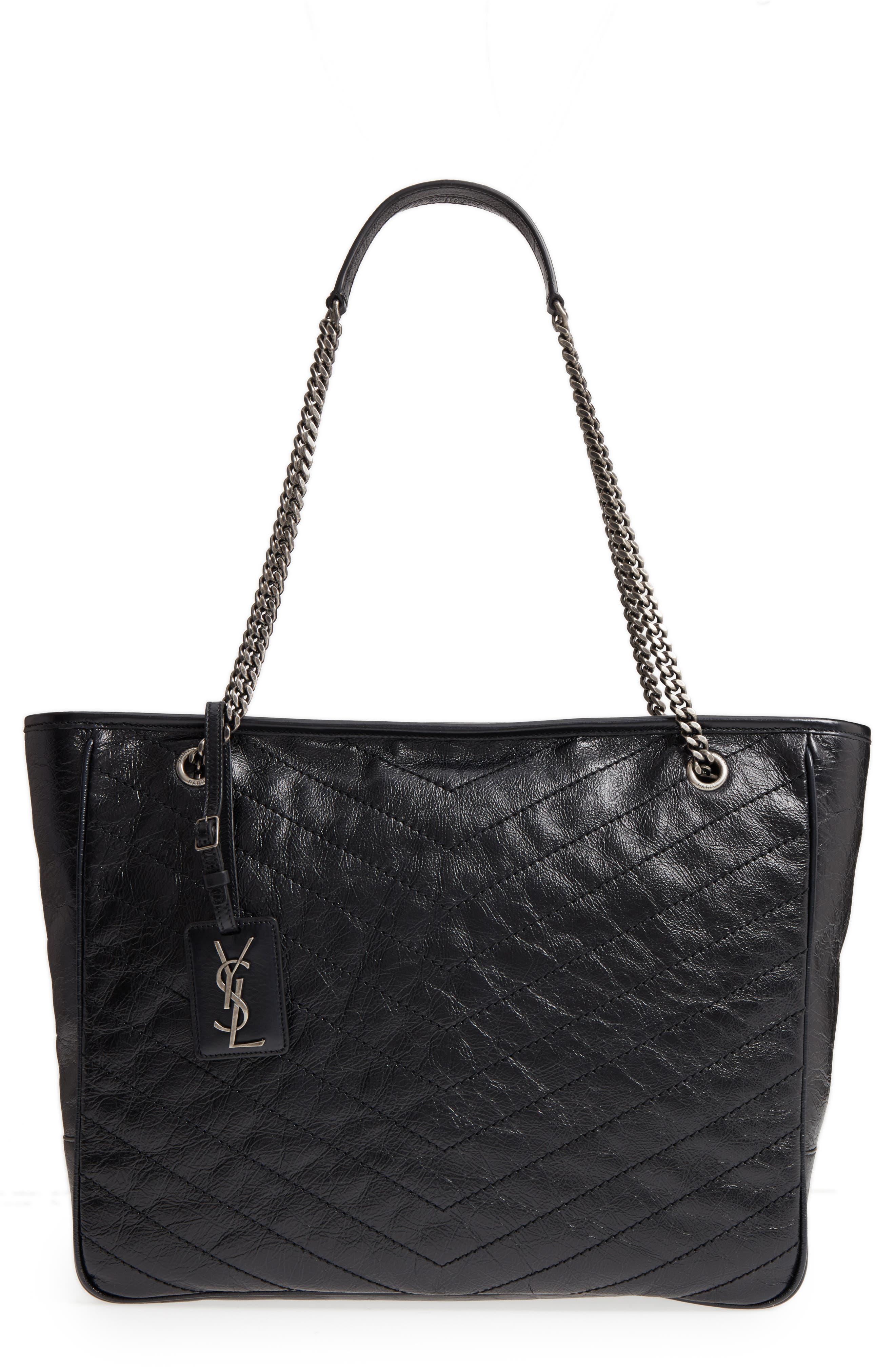 Large Niki Calfskin Leather Shopper,                         Main,                         color, Noir