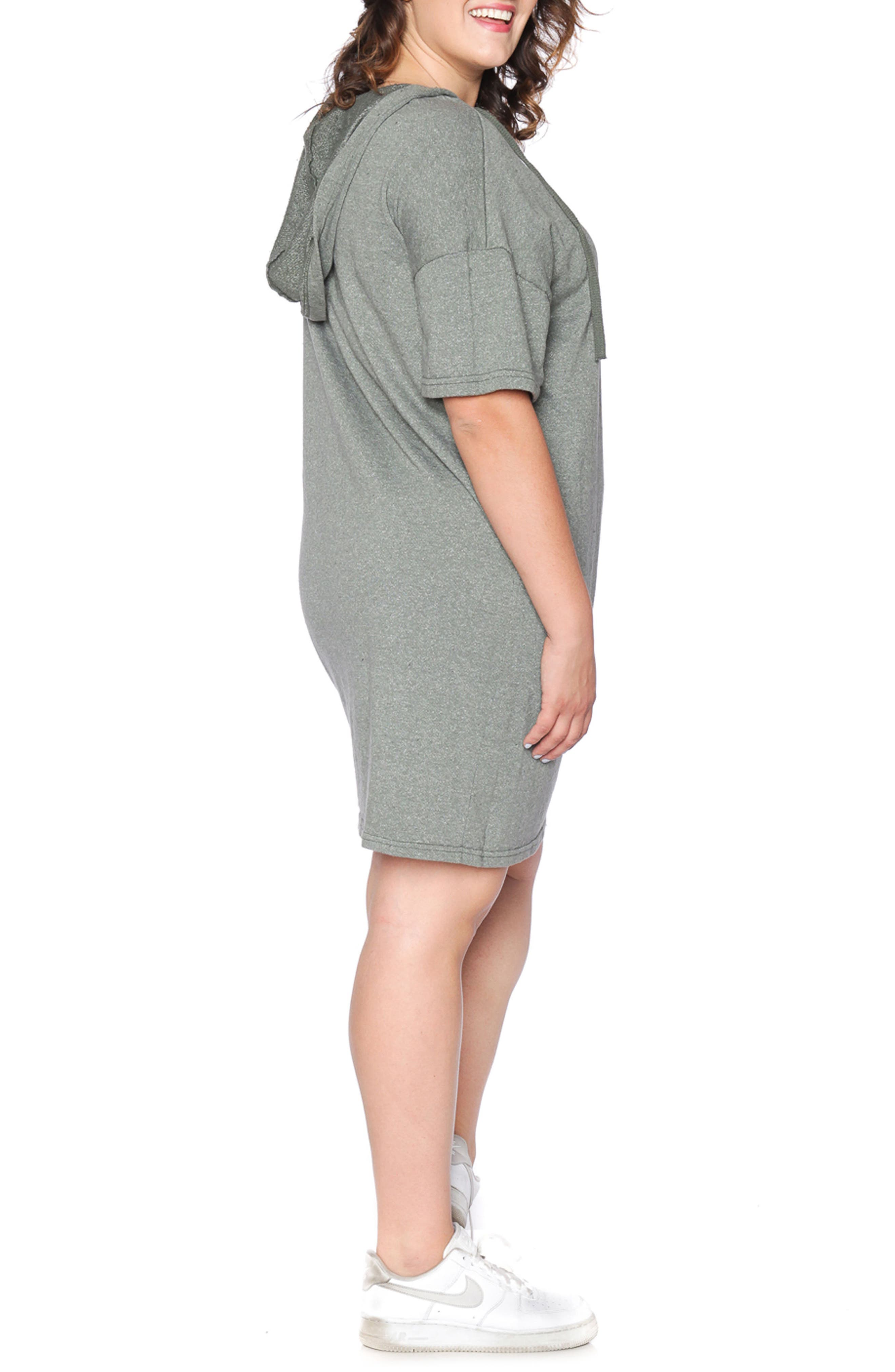 Lace-Up Hoodie Dress,                             Alternate thumbnail 2, color,                             Olive