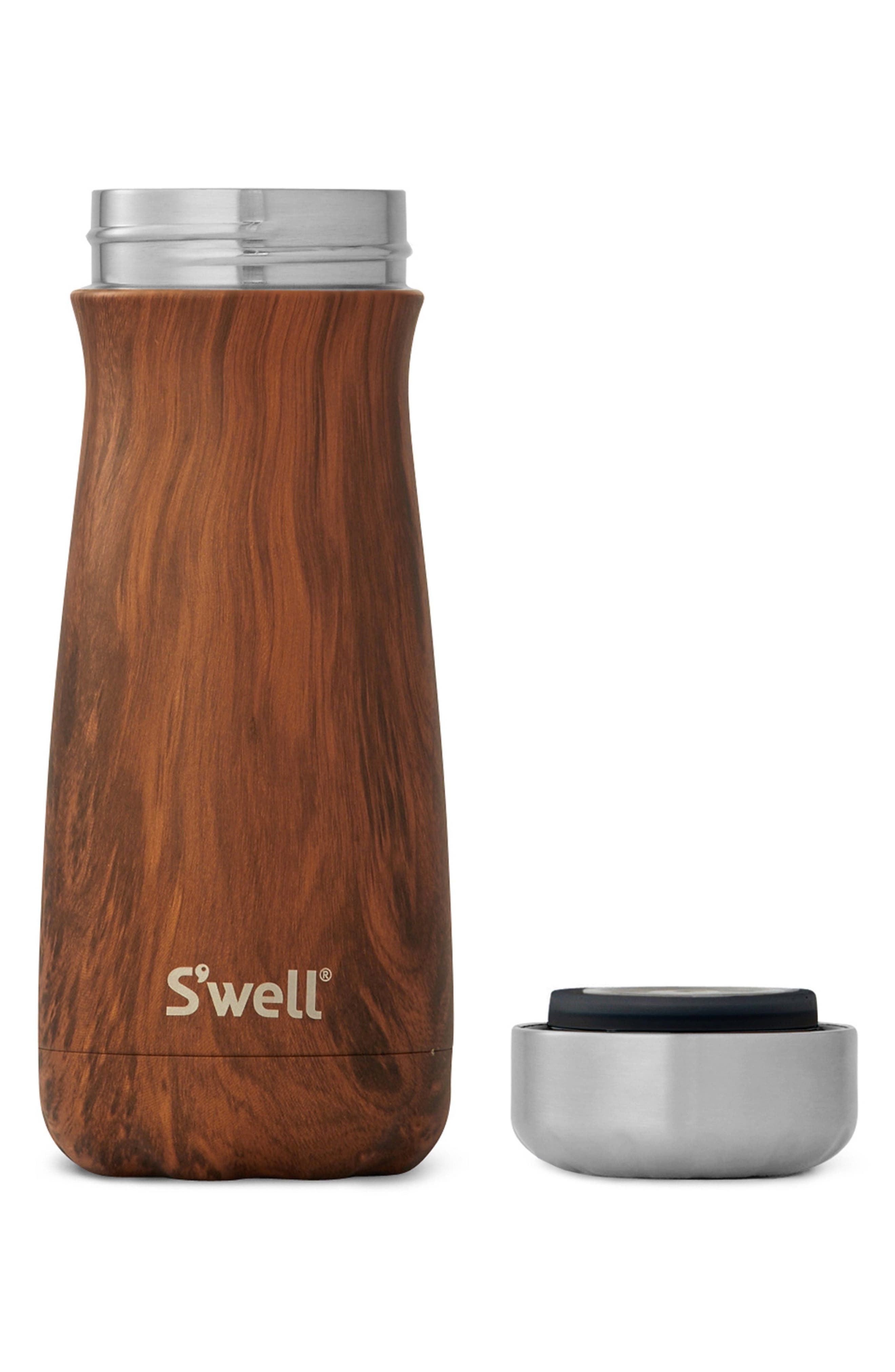 Traveler Teakwood Insulated Stainless Steel Water Bottle,                             Alternate thumbnail 2, color,                             Teakwood