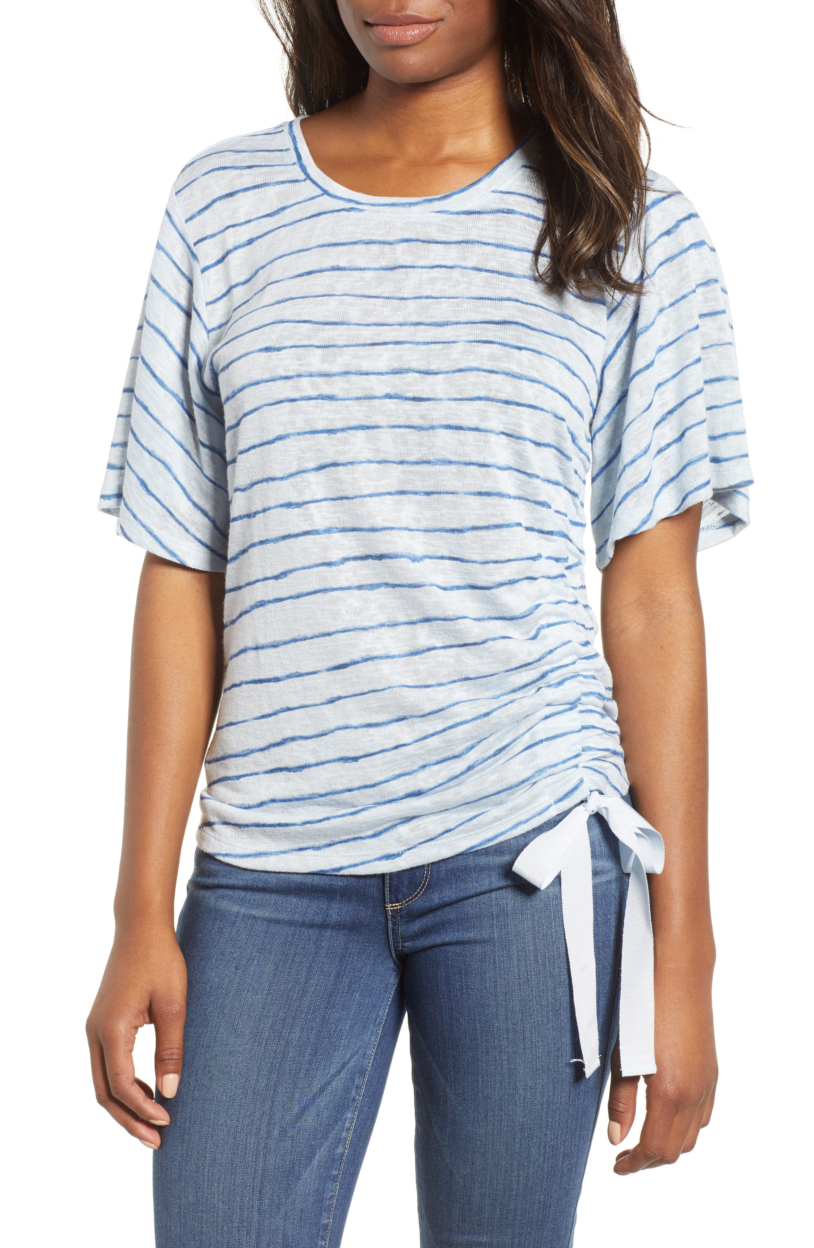Ruched Side Ribbon Tee,                         Main,                         color, Starlight