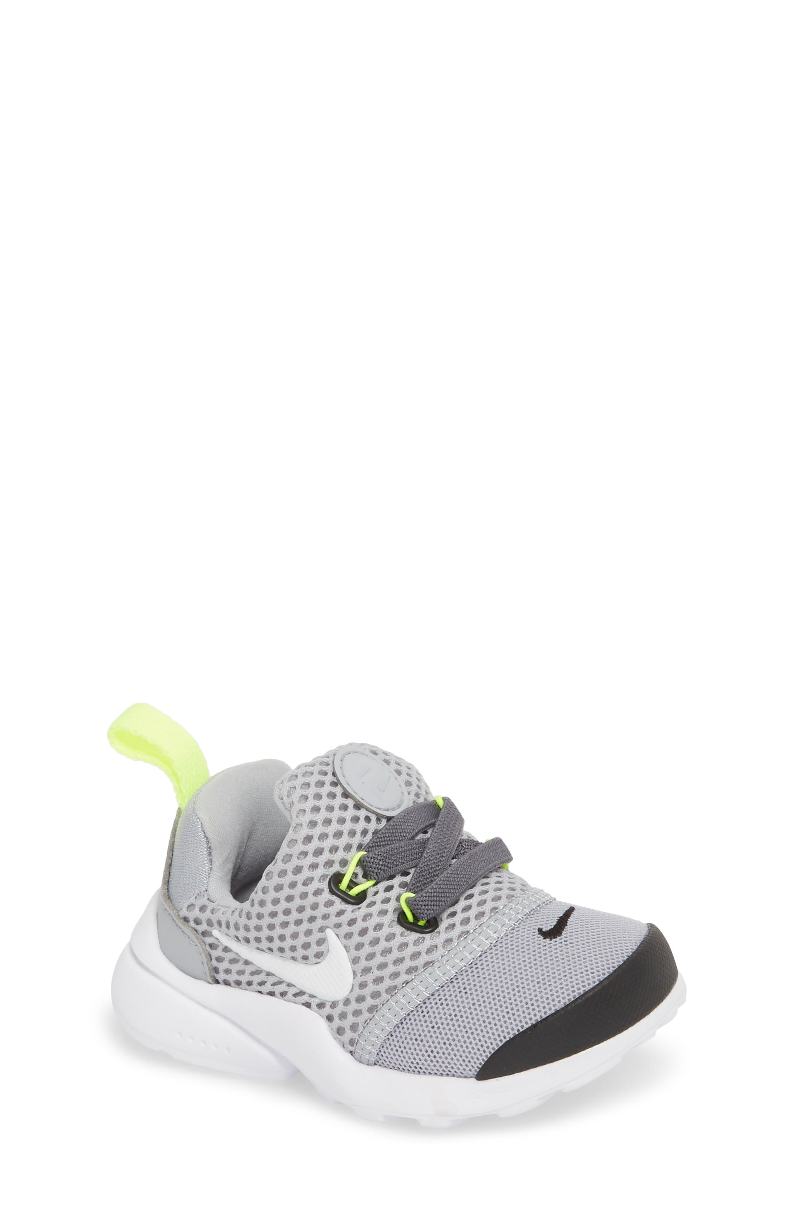 Presto Fly GS Sneaker,                             Main thumbnail 1, color,                             Grey/ White/ Black/ Volt