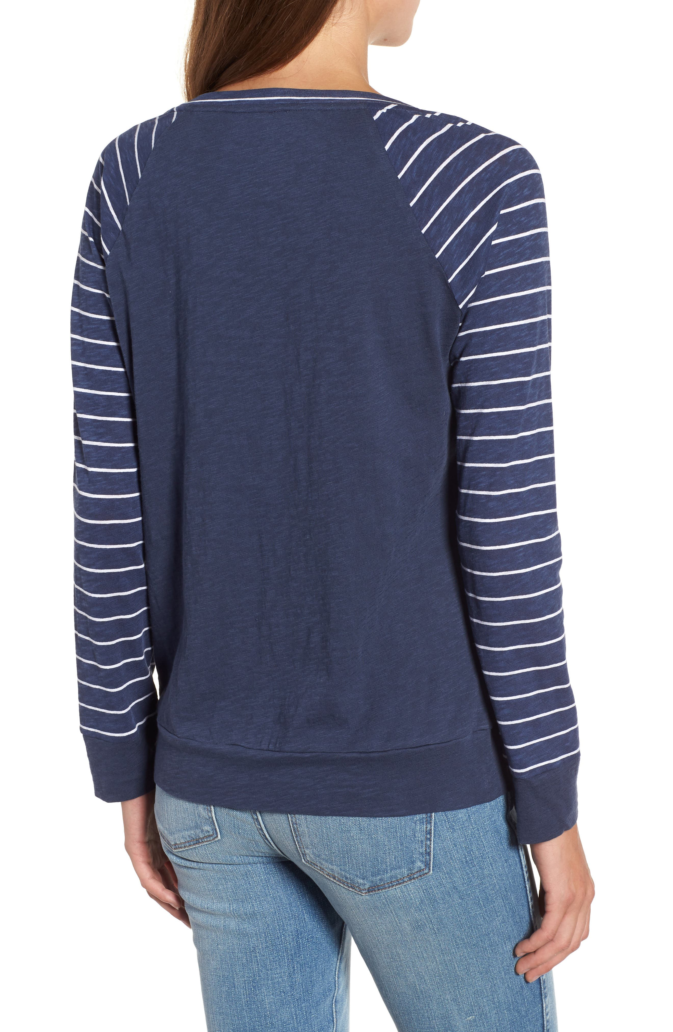 Lightweight Colorblock Cotton Tee,                             Alternate thumbnail 15, color,                             Navy- White