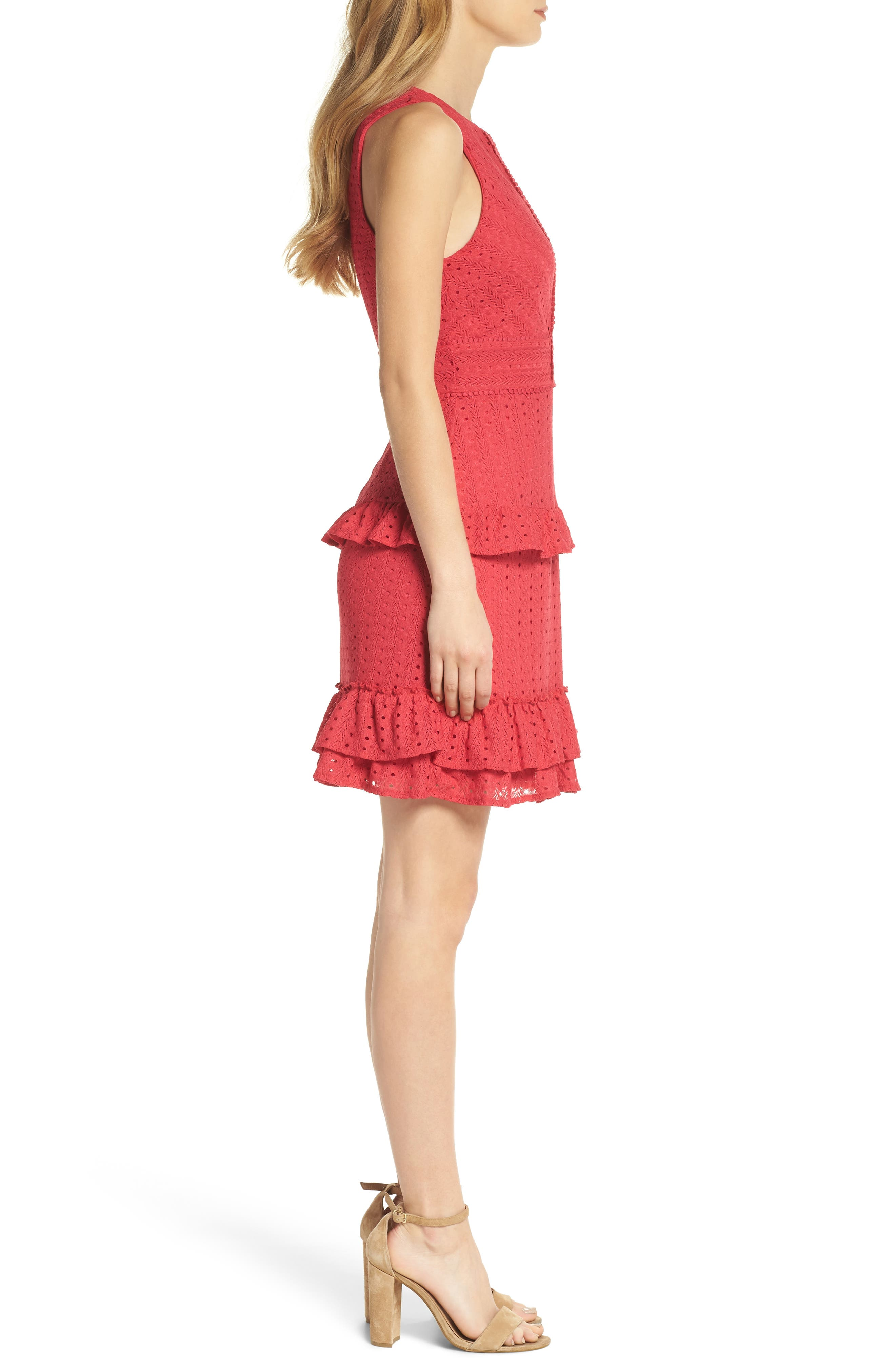 Sleeveless Ruffle Knit Sheath Dress,                             Alternate thumbnail 3, color,                             Pink Rose