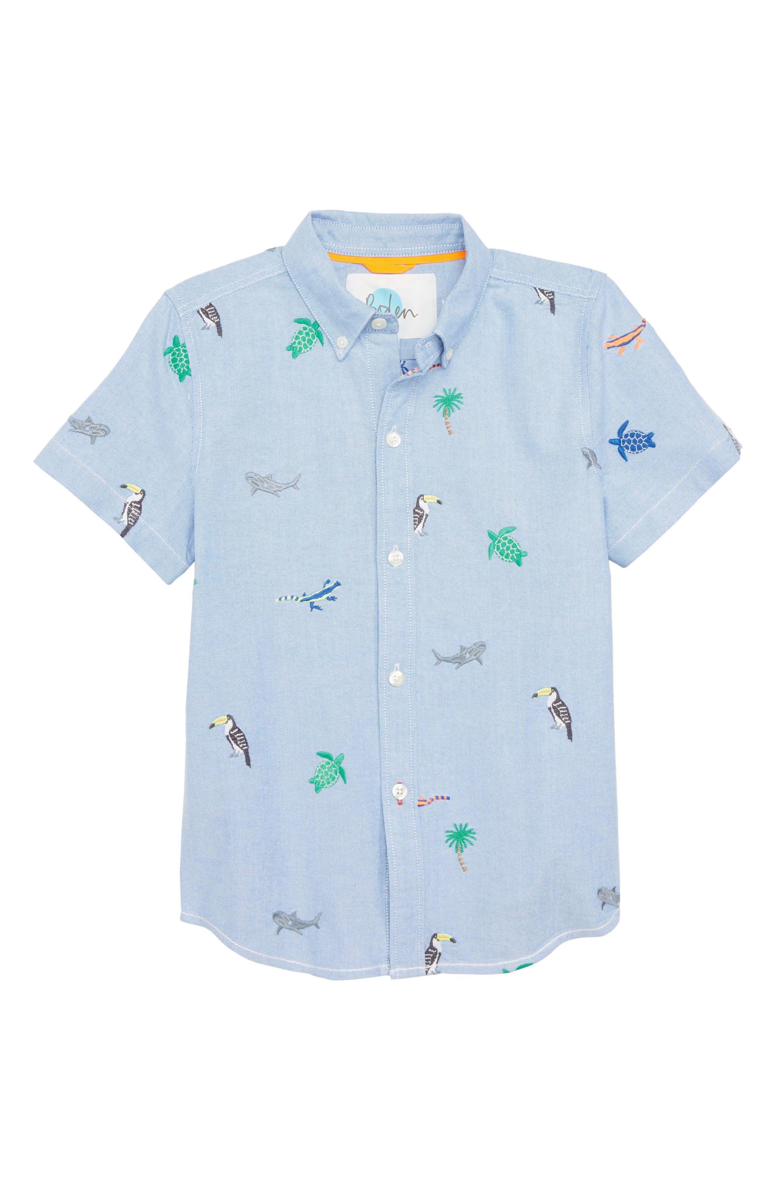 Fun Short Sleeve Button Down Shirt,                             Main thumbnail 1, color,                             Oxford Blue Island