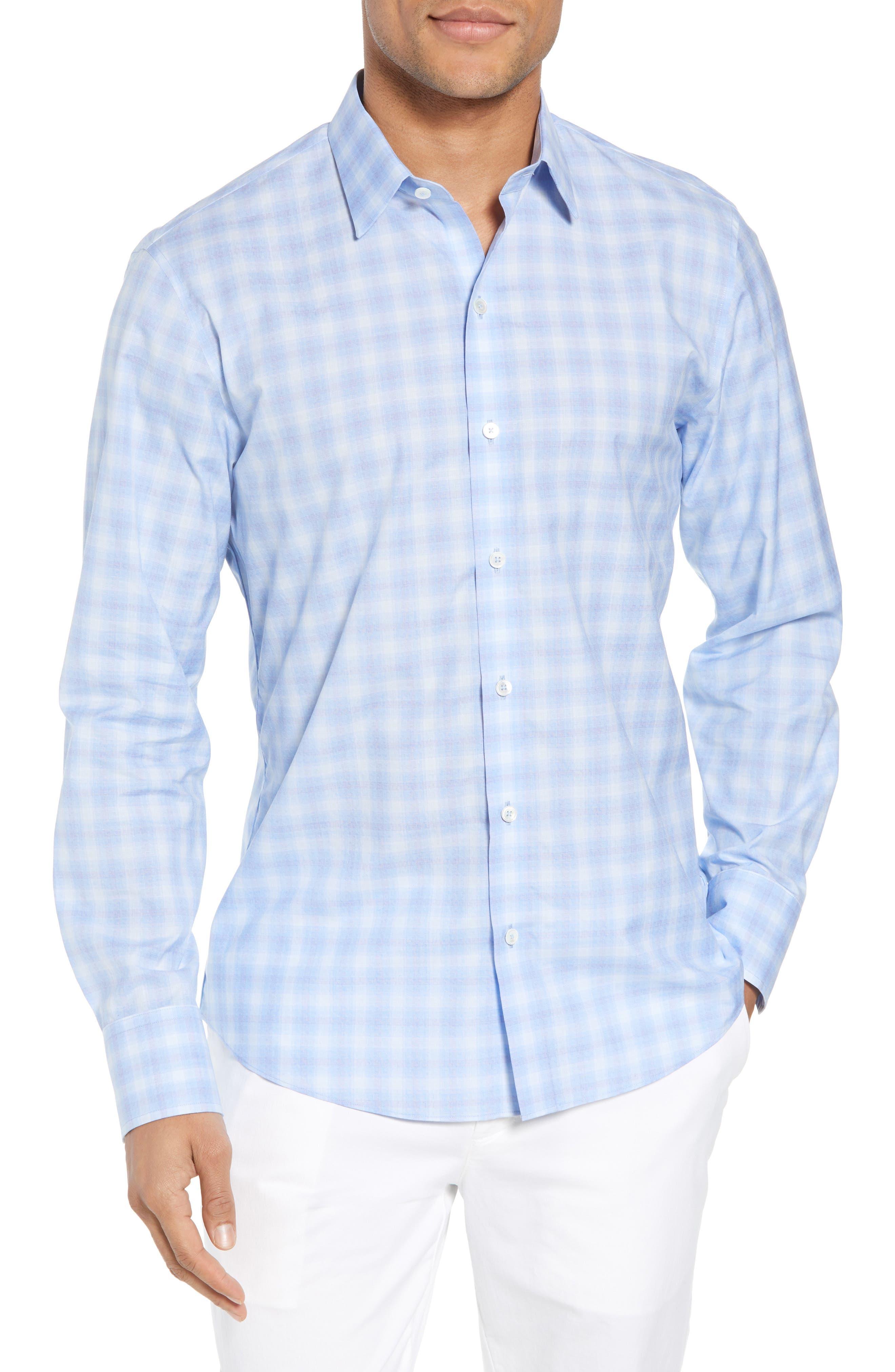 Salamone Plaid Sport Shirt,                         Main,                         color, Sky