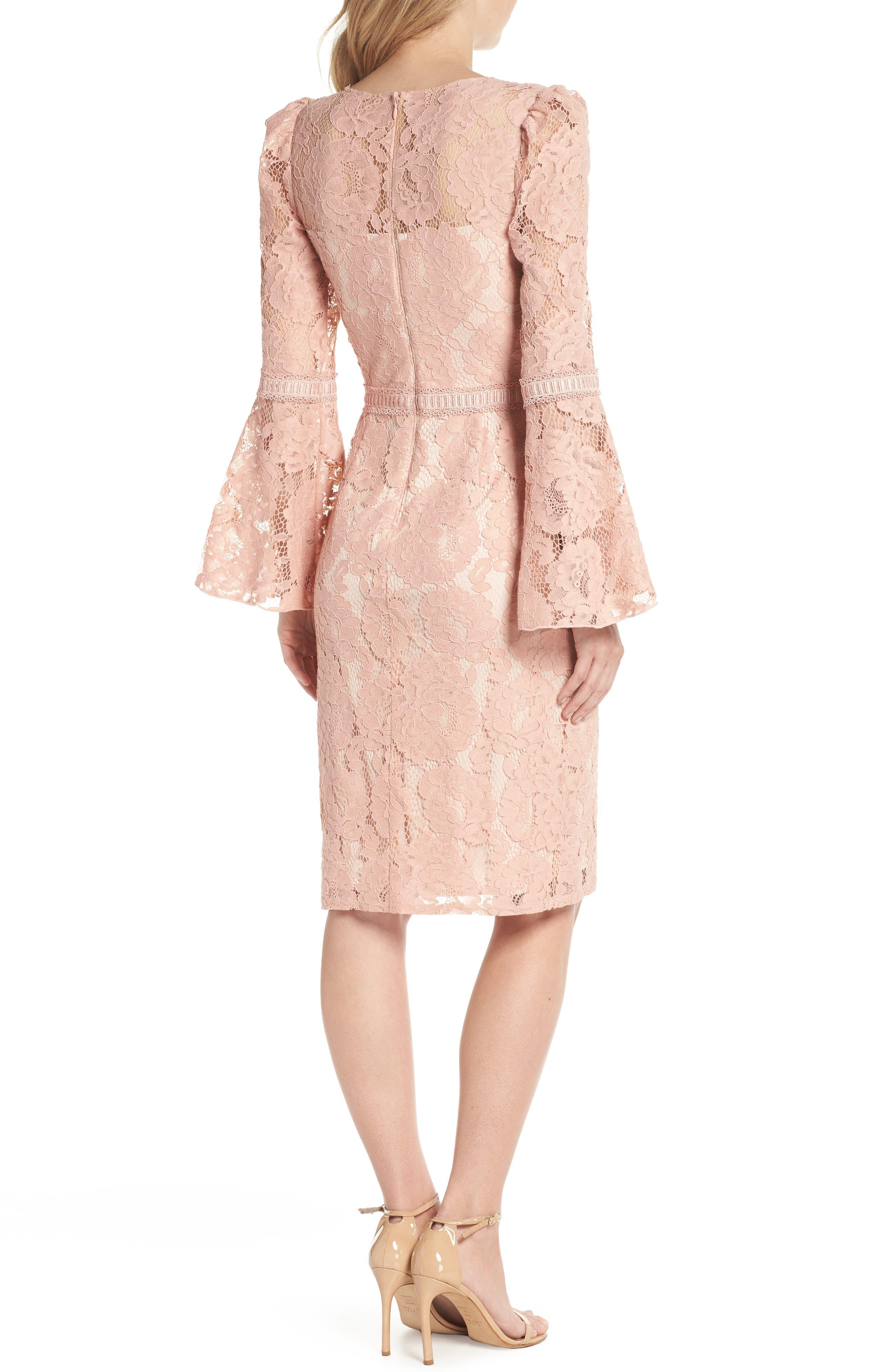Lace Bell Sleeve Dress,                             Alternate thumbnail 2, color,                             Petal Bloom