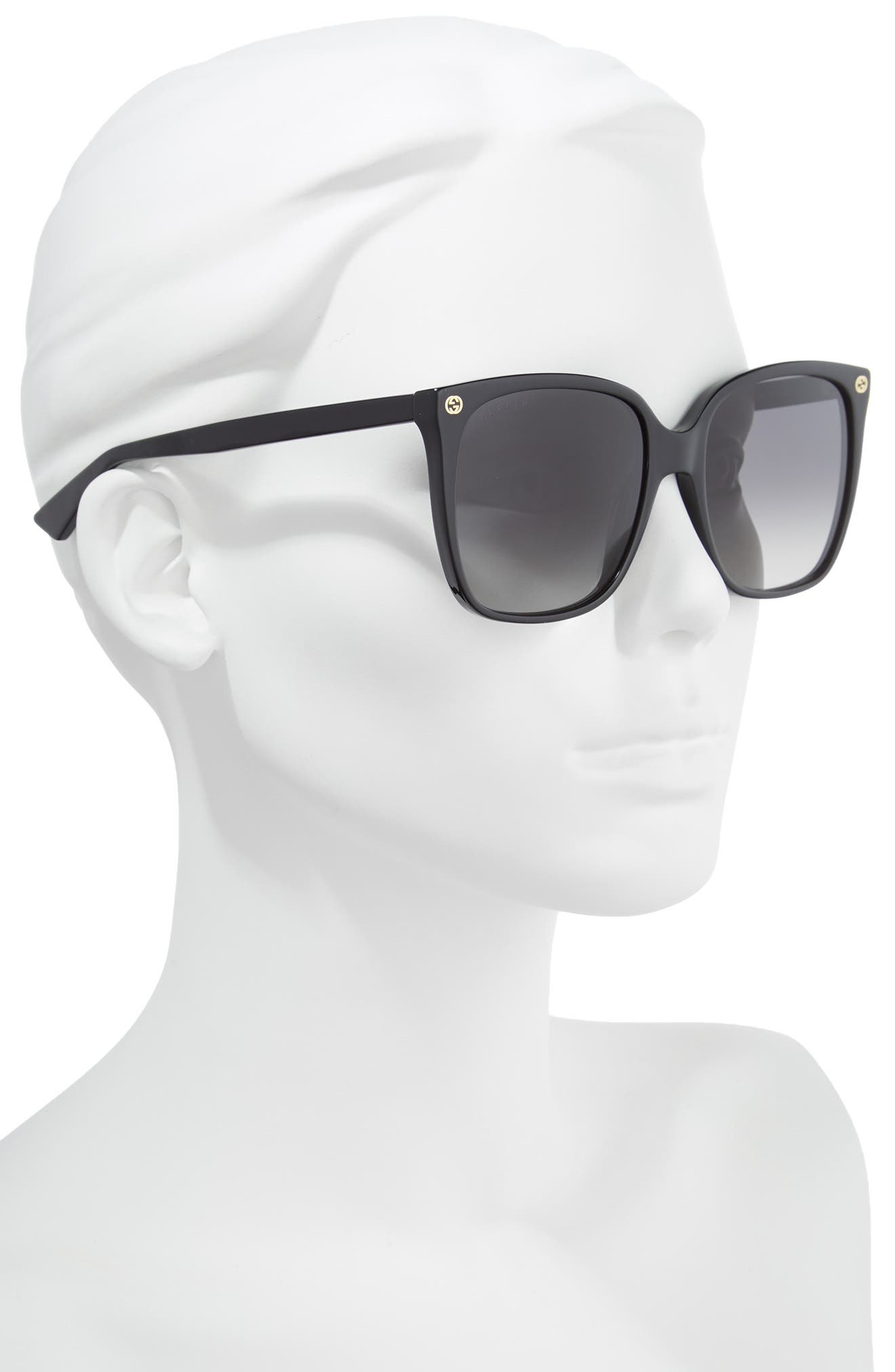 57mm Square Sunglasses,                             Alternate thumbnail 2, color,                             Shiny Black