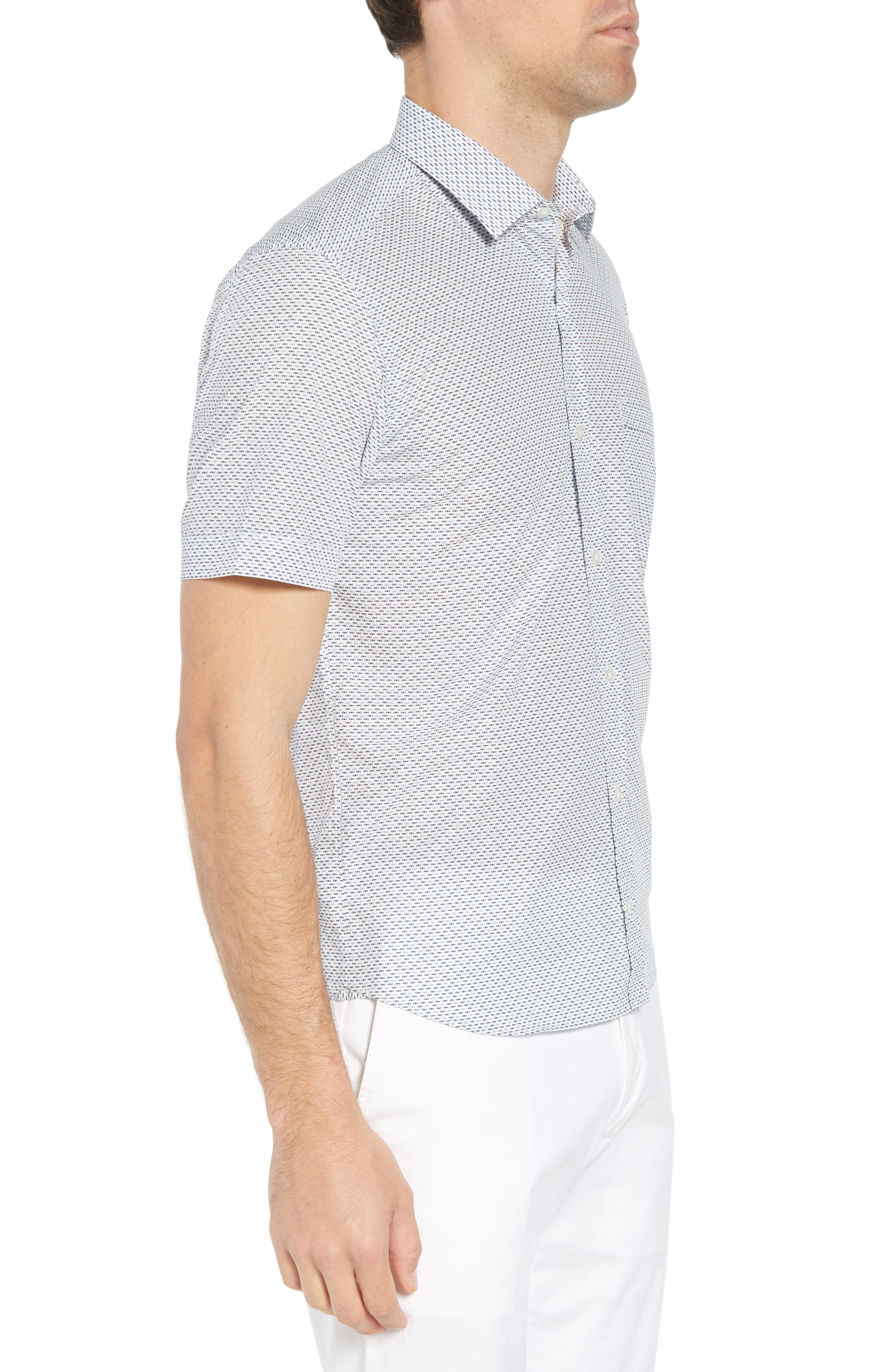Trim Fit Fish Print Sport Shirt,                             Alternate thumbnail 4, color,                             White