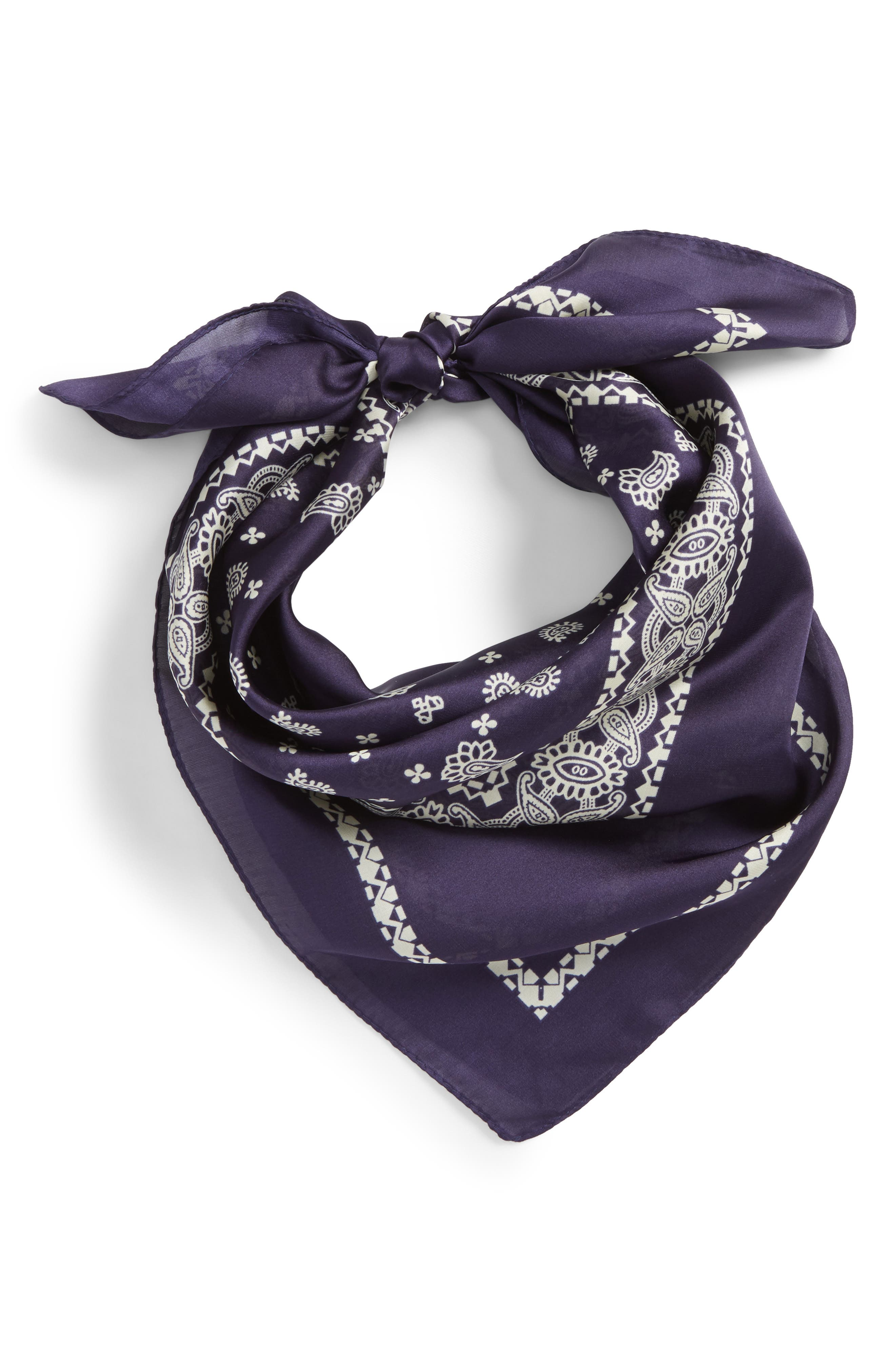 Paisley Handkerchief,                             Main thumbnail 1, color,                             Navy