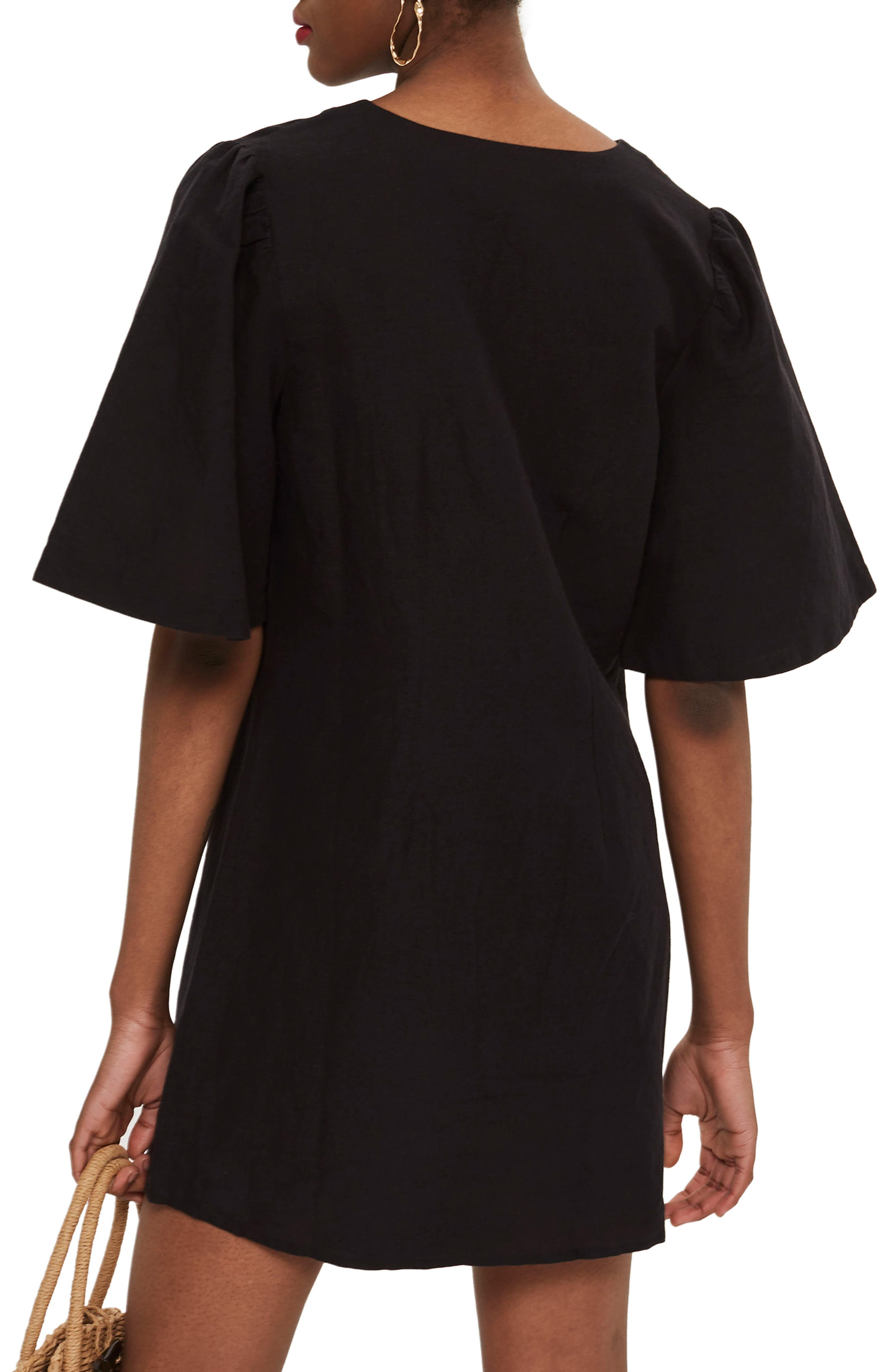 Angel Sleeve Shift Dress,                             Alternate thumbnail 2, color,                             Black Multi